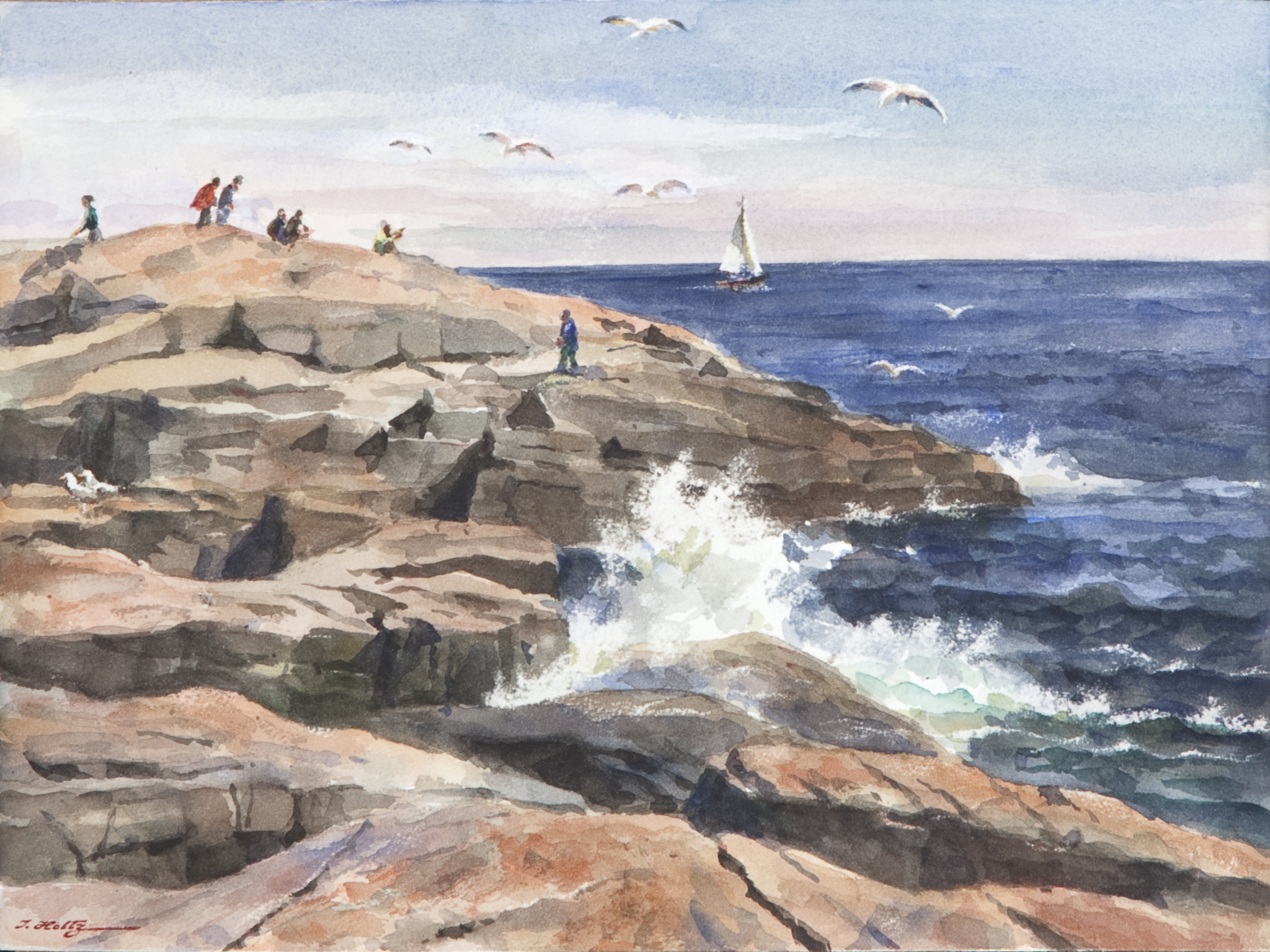 285 Rocky Shoreline with mat - Watercolor - 14 x 10 - No Frame