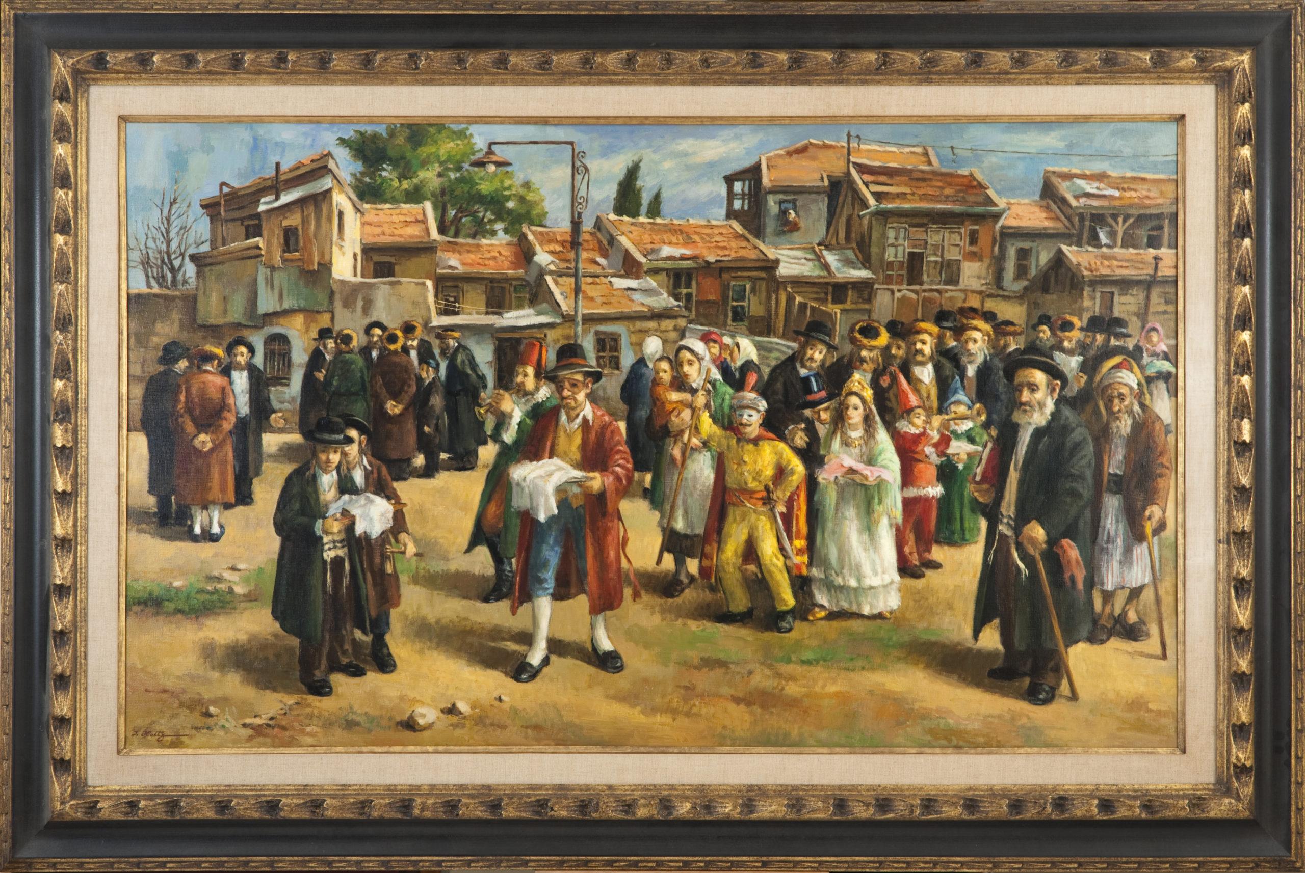 292 Purim Jerusalem 1967 - Oil on Canvas - 50 x 30 - Frame: 61 x 41 x 2
