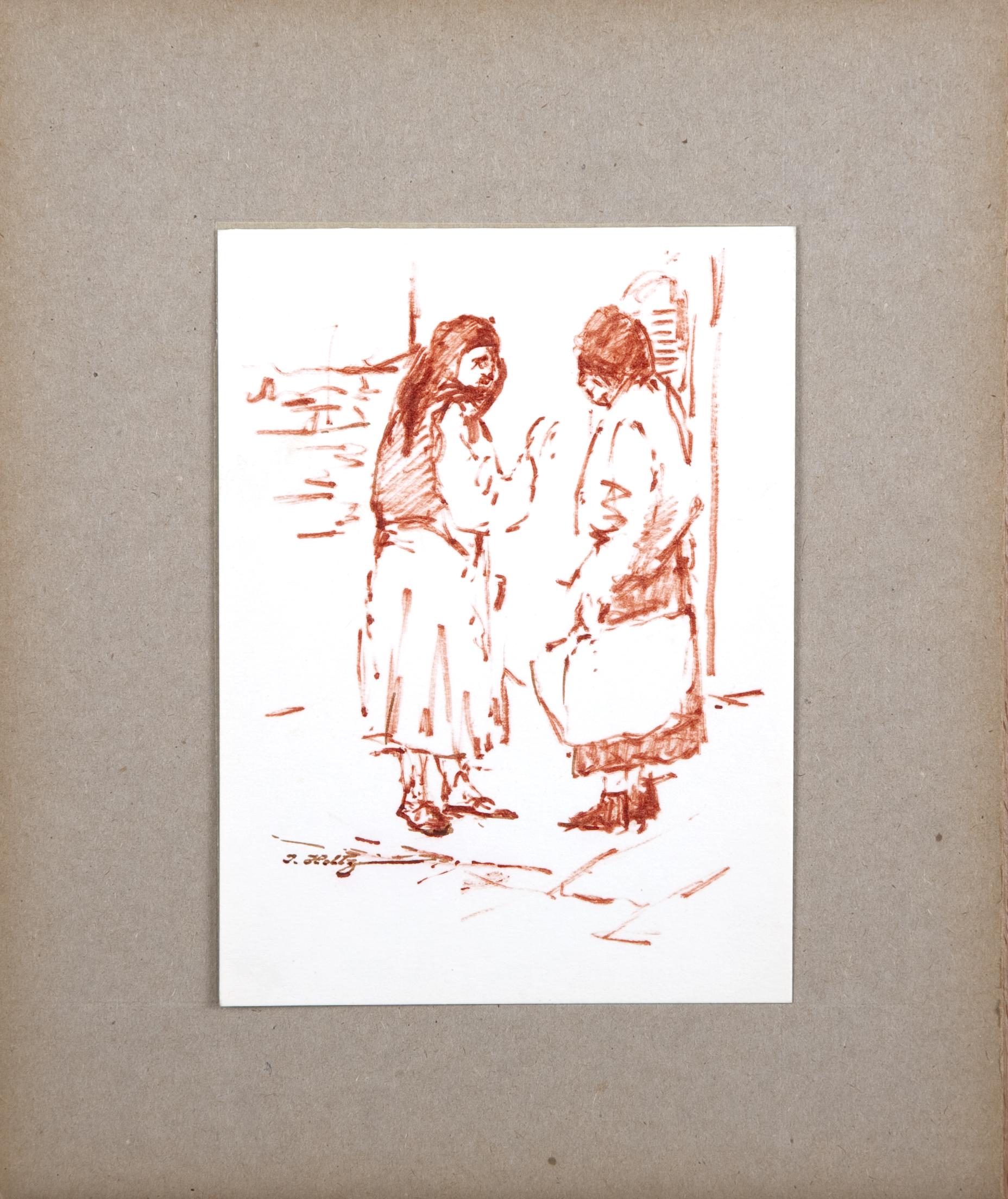 D19 Gossiping - Sepia Marker - 5.25 x 7 - Matt: 9 x 11 - No Frame