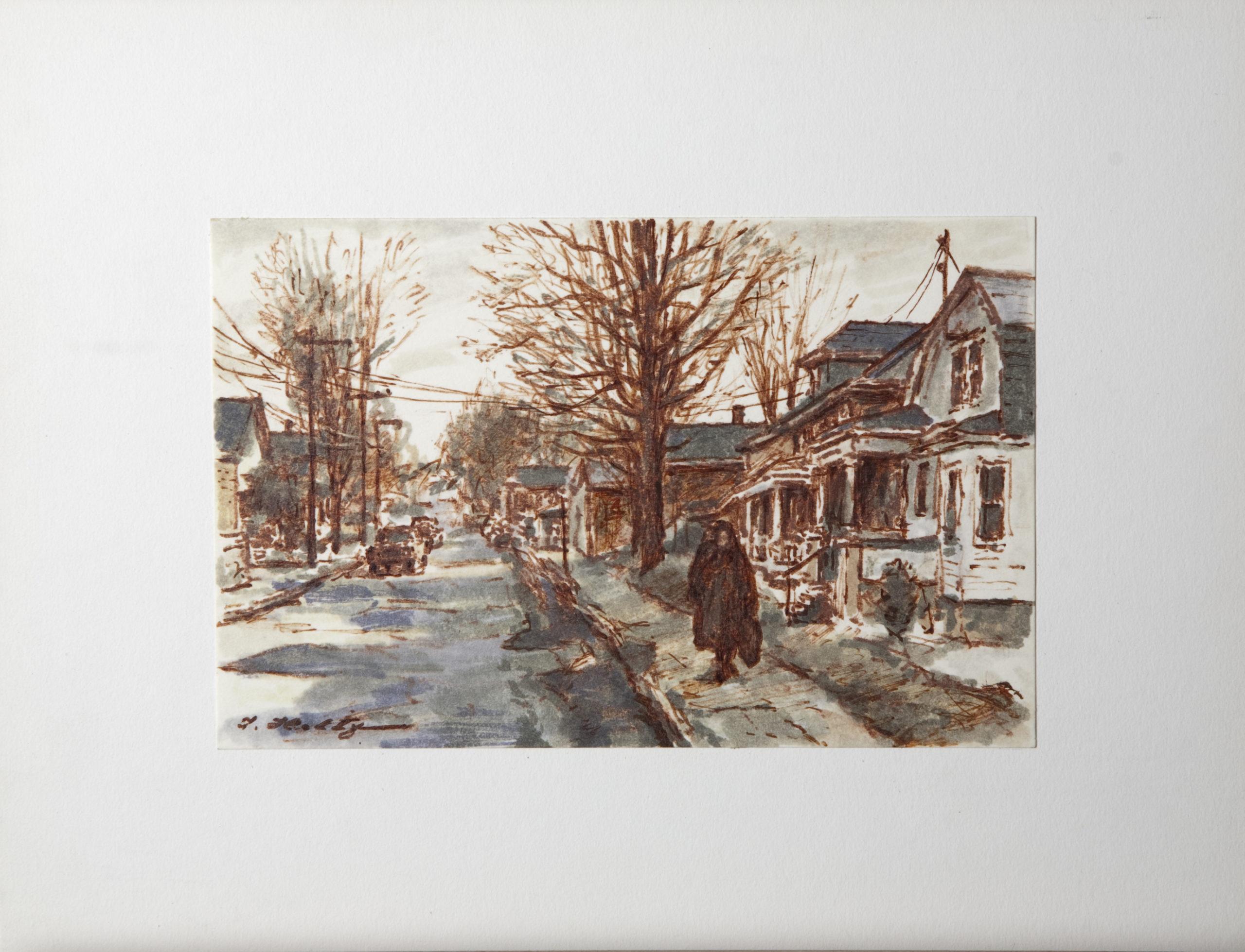 D30 Residential Street in Winter - Colored Marker - 8.5 x 5.5 - Matt: 12.75 x 10 - No Frame