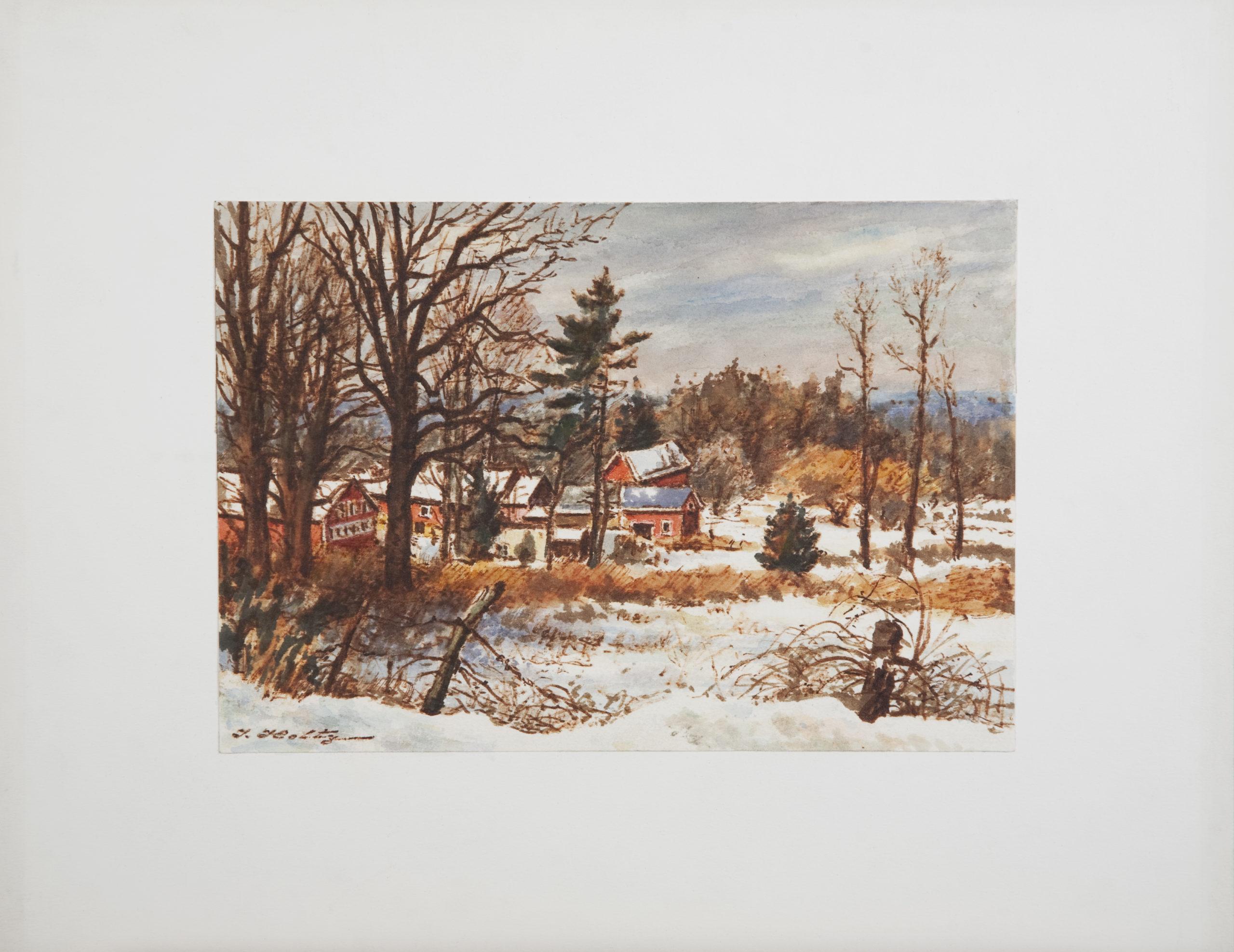 D39 Country Scene in Winter - Colored Marker - 10 x 7 - Matt: 15.75 x 12.5 - No Frame