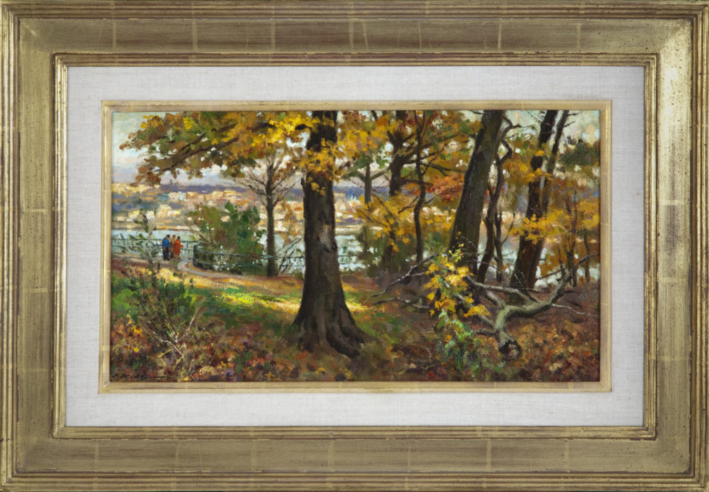 026 Hudson View 1979 - Oil on Masonite - 20 x 11.5 - Frame: 28.5 x 19.5 x 1.5