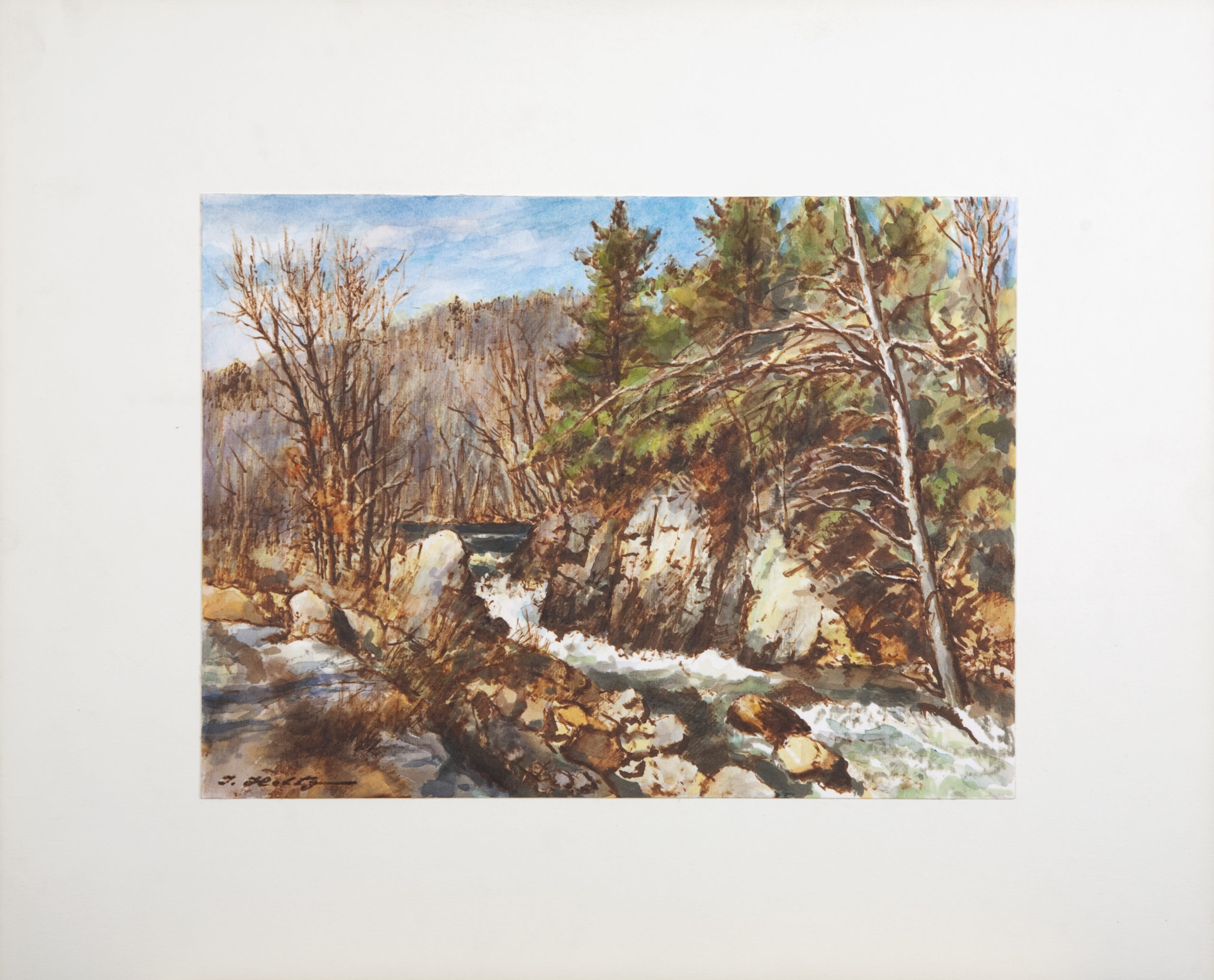 D42 River Rapids - Colored Marker - 12.125 x 9 - Matt: 18.25 x 15 - No Frame