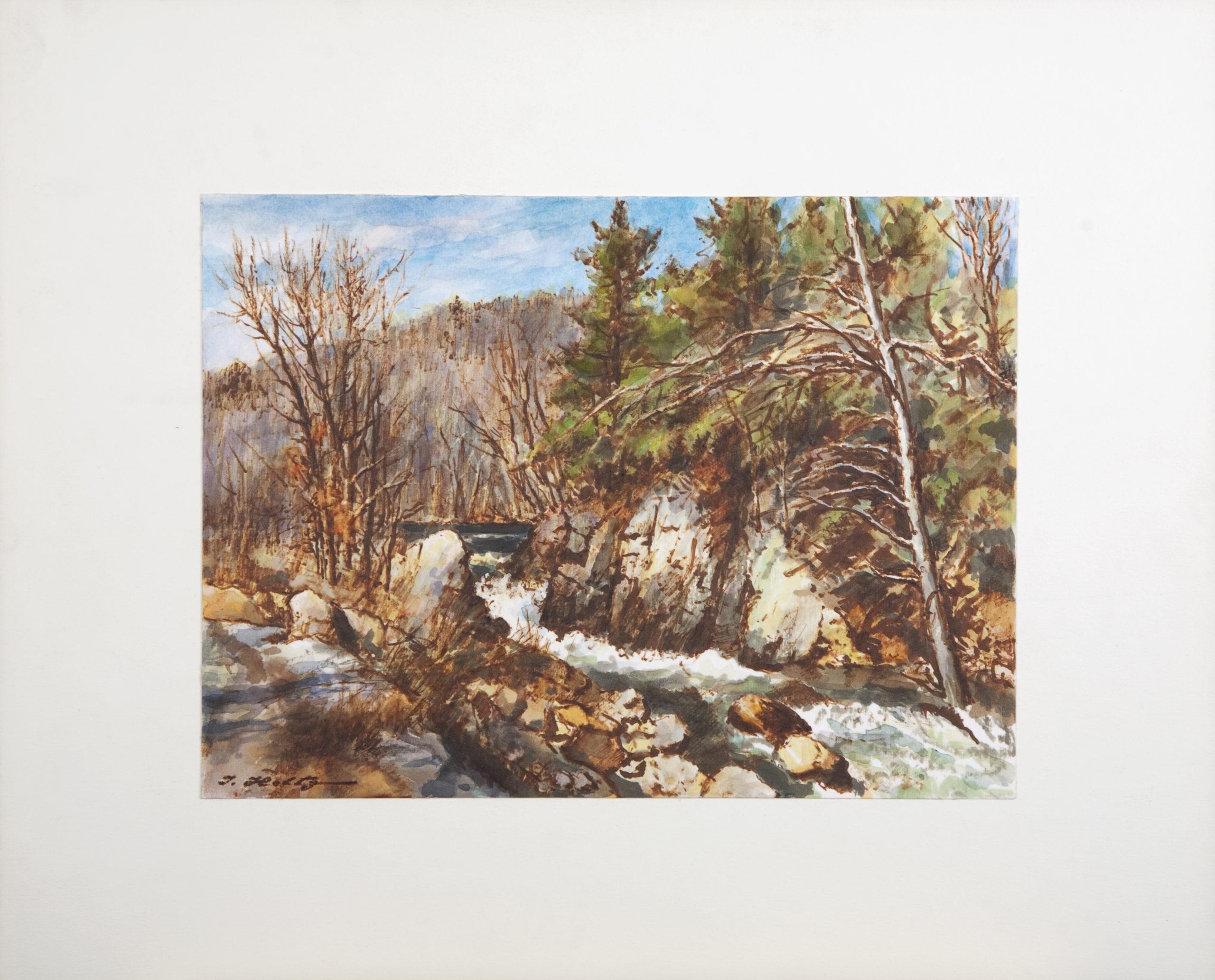 D42 River Rapids - Colored Marker - 12.125 x 9 - Matt: 18.25 x 15 - No Frame