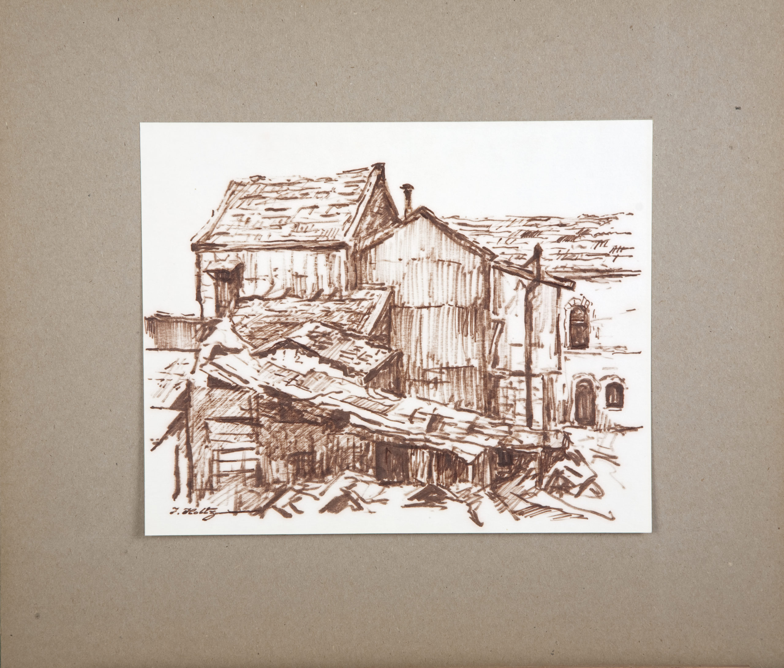 D61 Rooftops - Brown Marker - 10.25 x 8.25 - Matt: 16 x 14 - No Frame