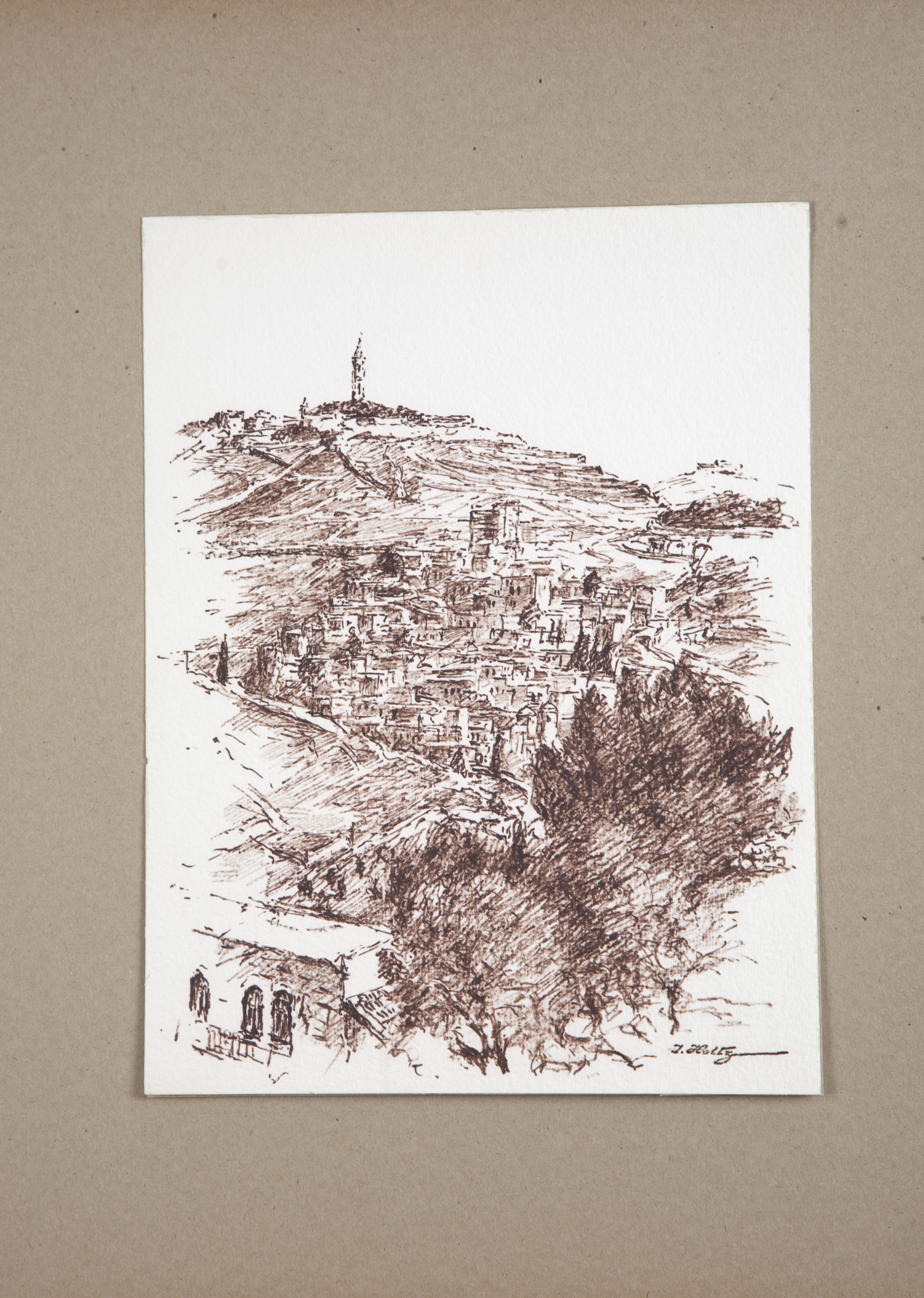 D64 Road to Jerusalem - Brown Marker - 8.75 x 10.75 - Matt: 15 x 18 - No Frame