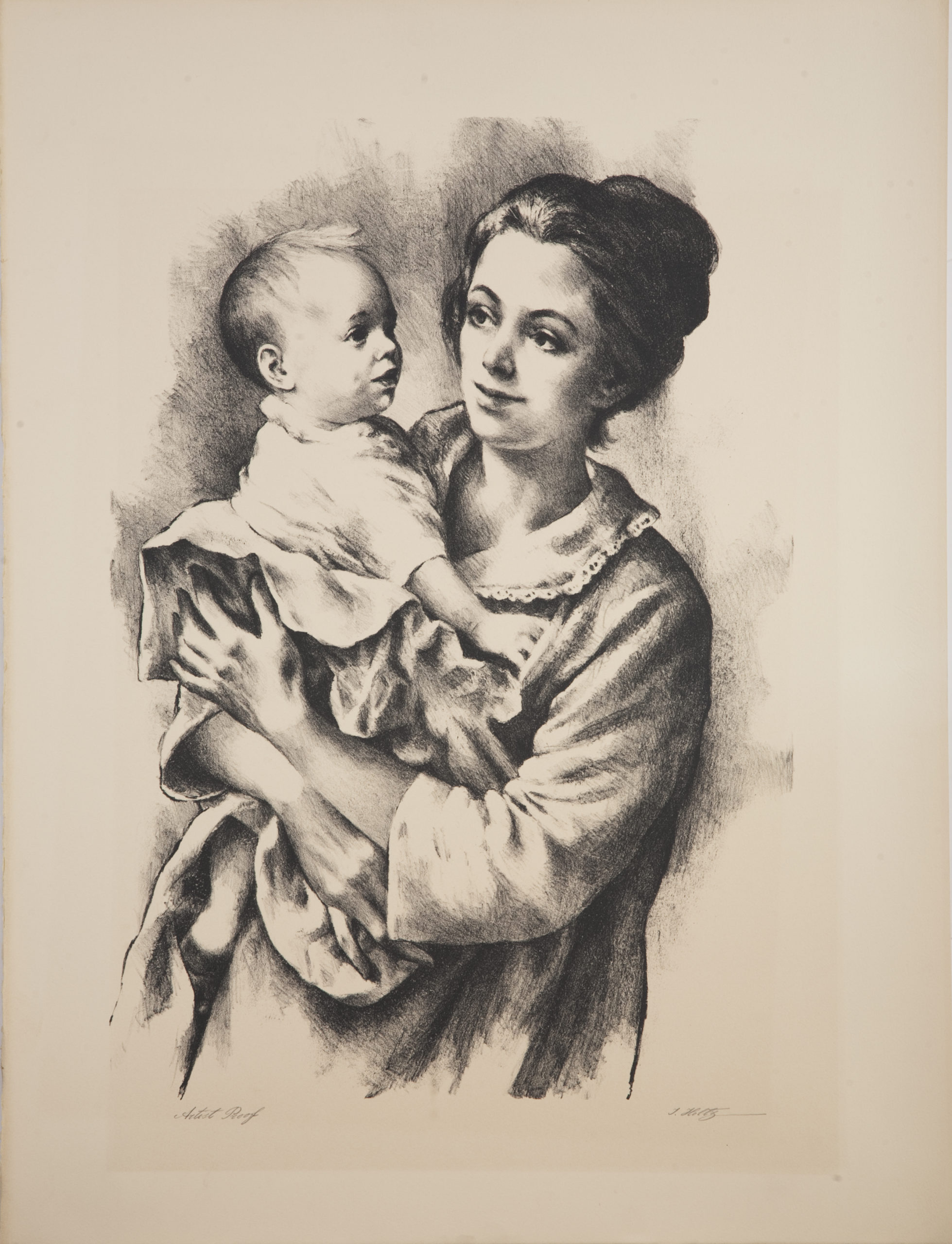 L01B Mother & Child - Black and White - Lithograph - 22 x 29 - No Frame - $500