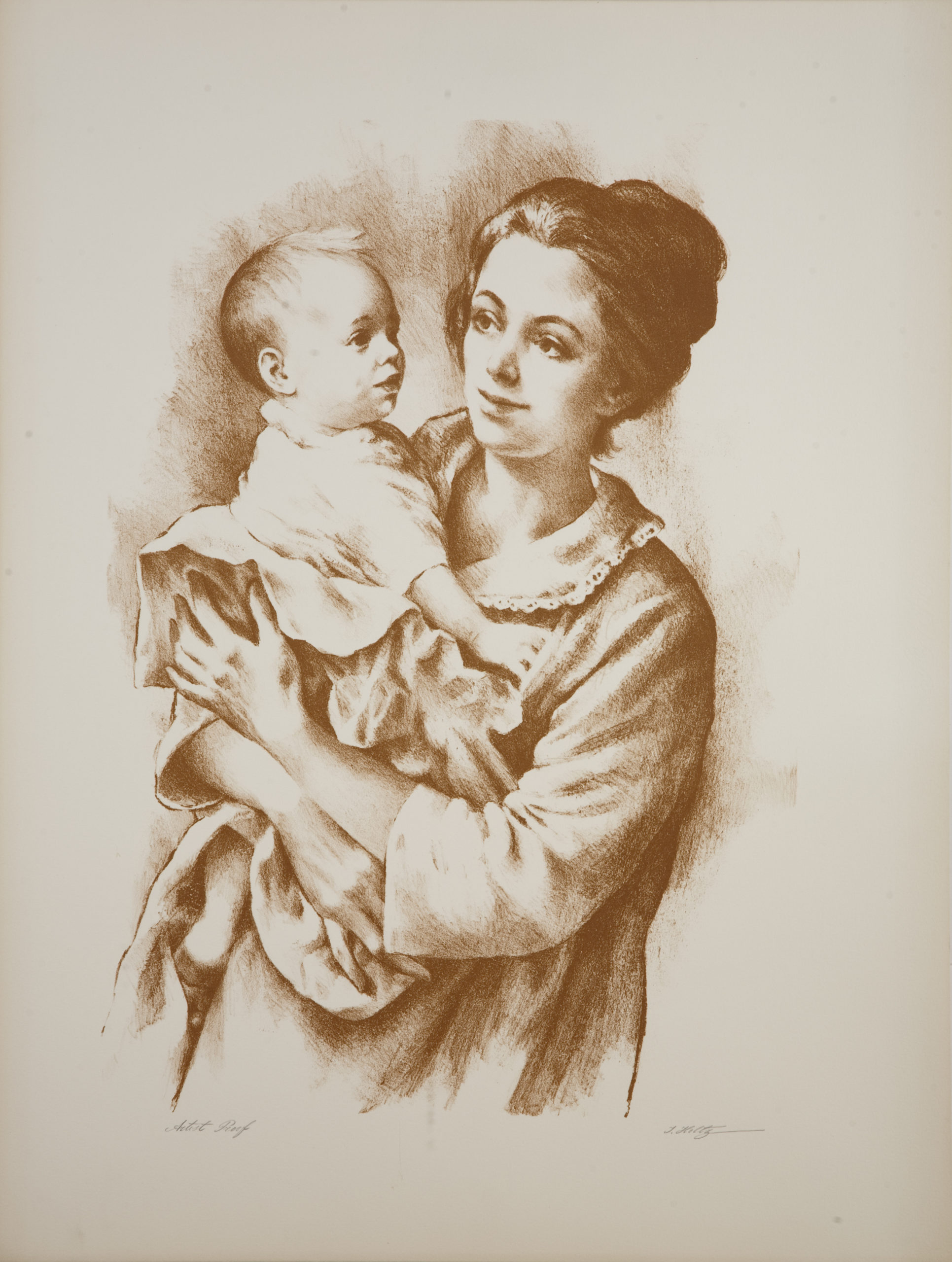 L01S Mother & Child - Sepia - Lithograph - 22 x 29 - No Frame - $500