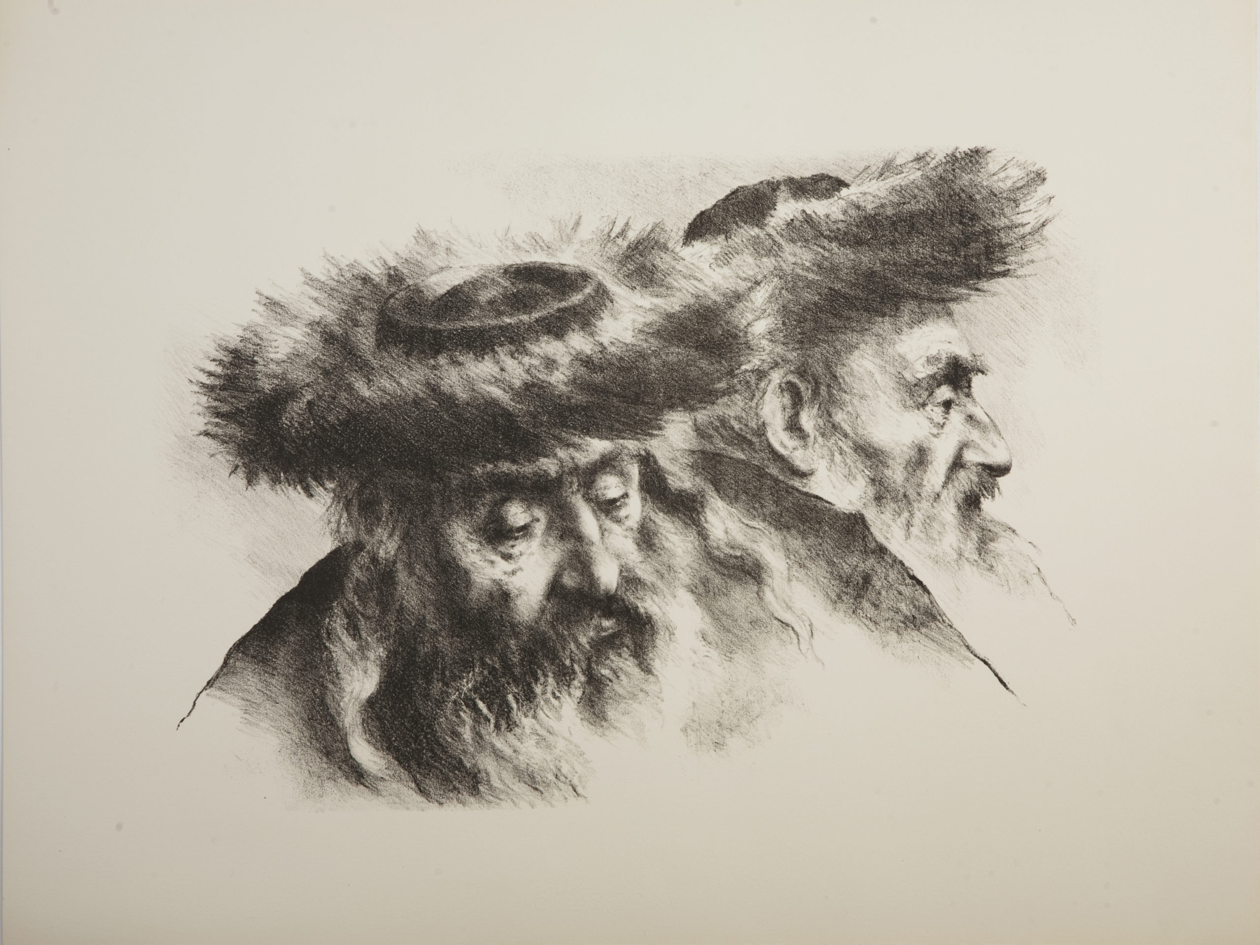 L04B 2 Chassidim - Black and White - Lithograph - 25.5 x 19 - No Frame - $420