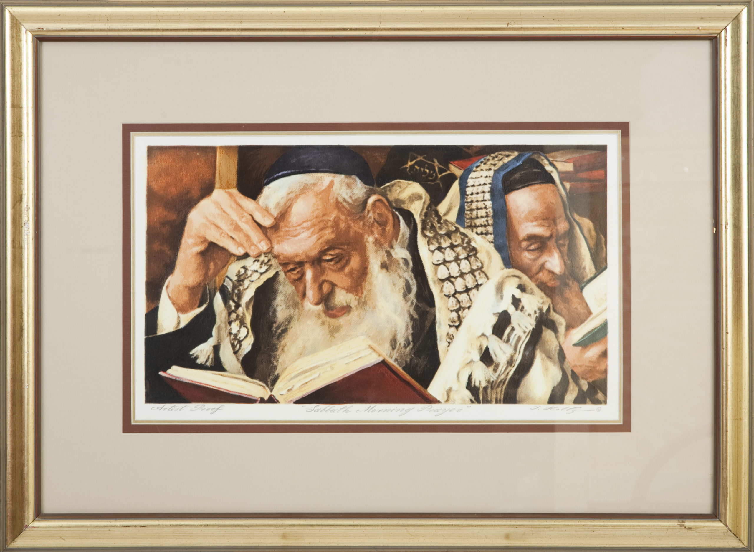L06F Shabbat Morning Service - Color - Serigraph - 23.5 x 15.5 - Framed
