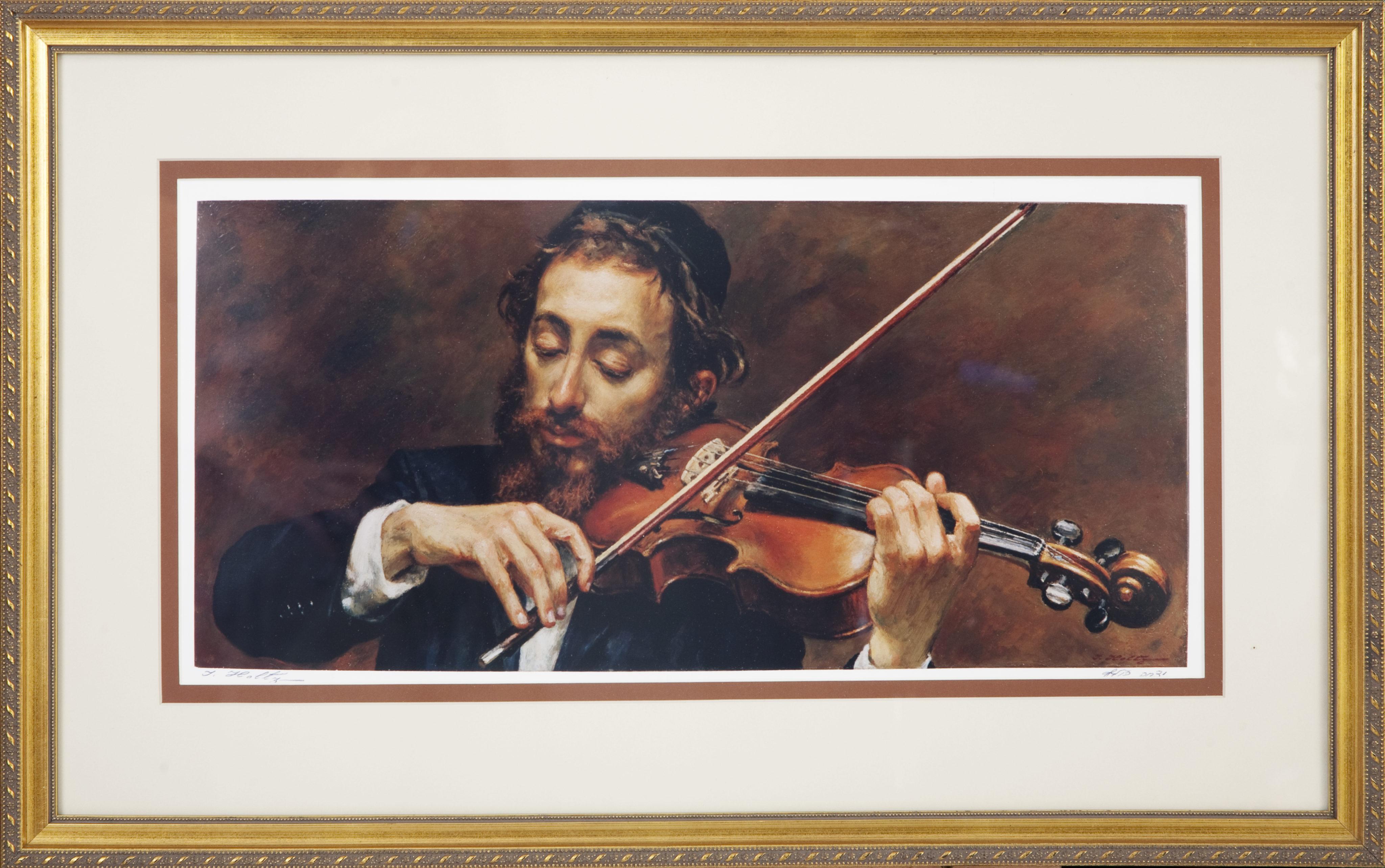 L10F Fiddler - Color - Lithograph - 26.25 x 16.5 - Framed