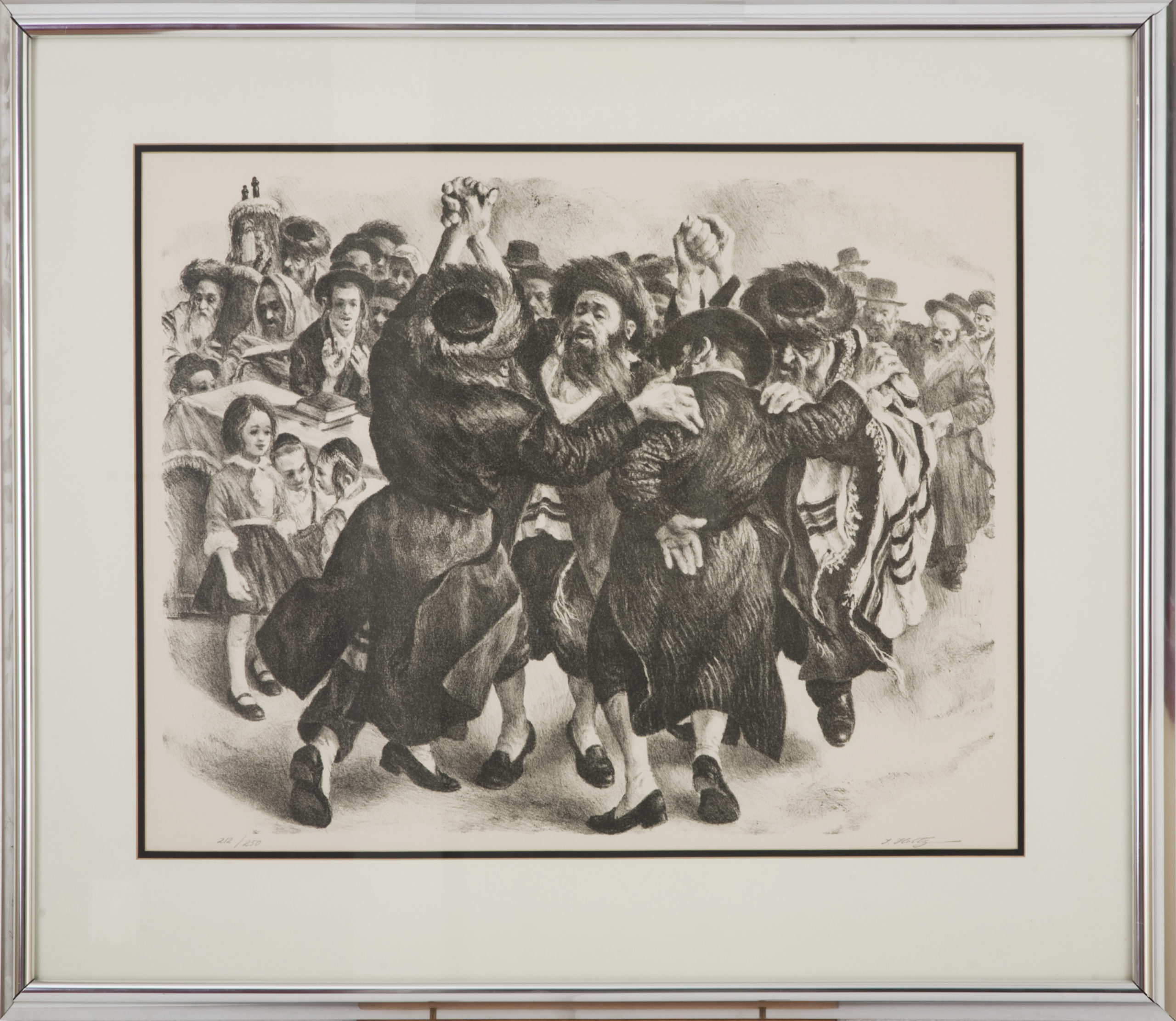 L11BF Rejoicing 1974 - Black & White-Lithograph - 34 x 29 - Framed
