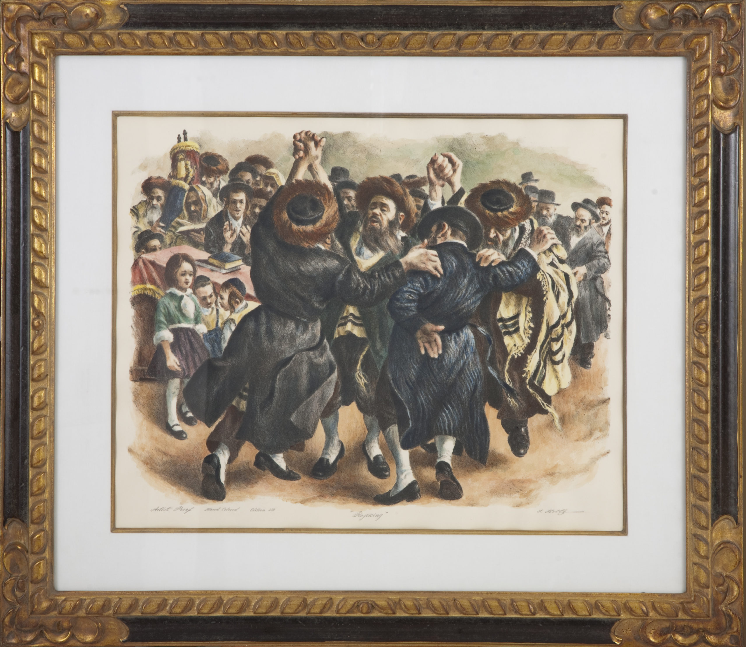 L11 SOLD Rejoicing 1974 - Hand Colored - Lithograph - 37 x 31.75 - Framed