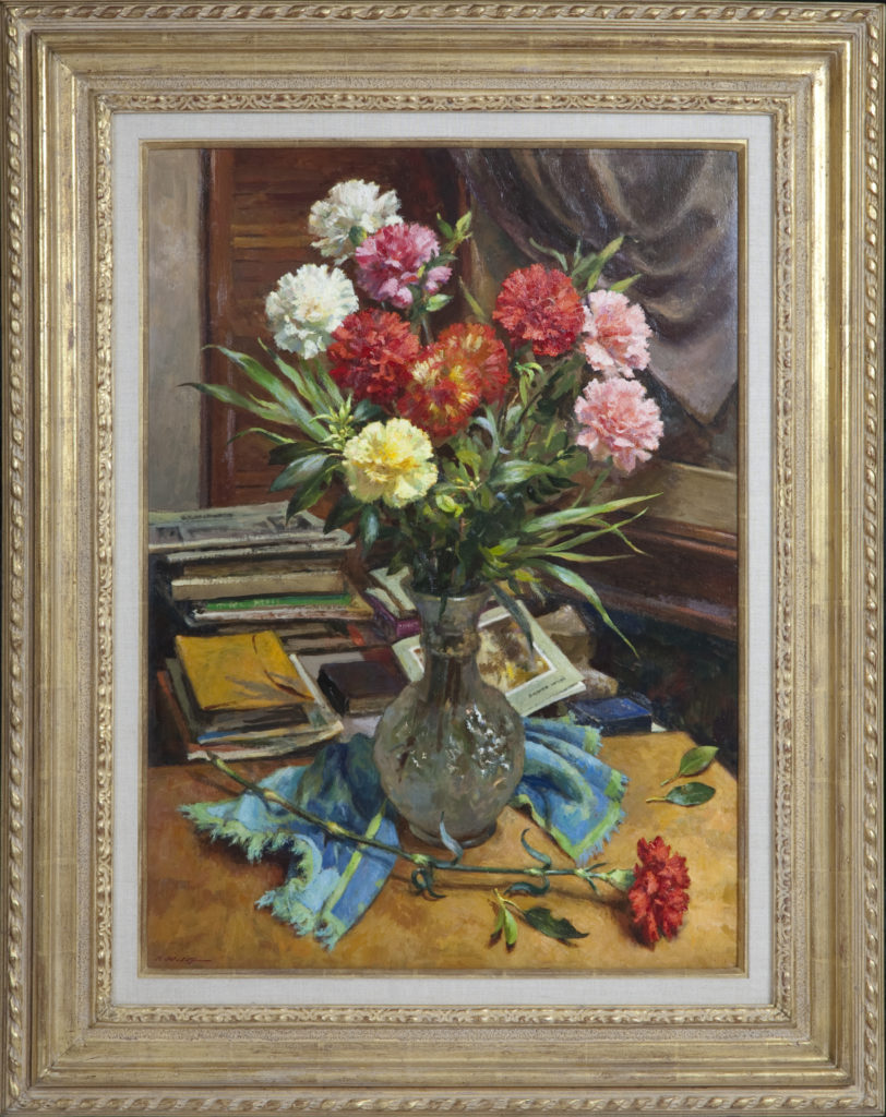 029 Carnations 1985 - Oil on Masonite - 21 x 29 - Frame: 31.25 x 39 x 2.5