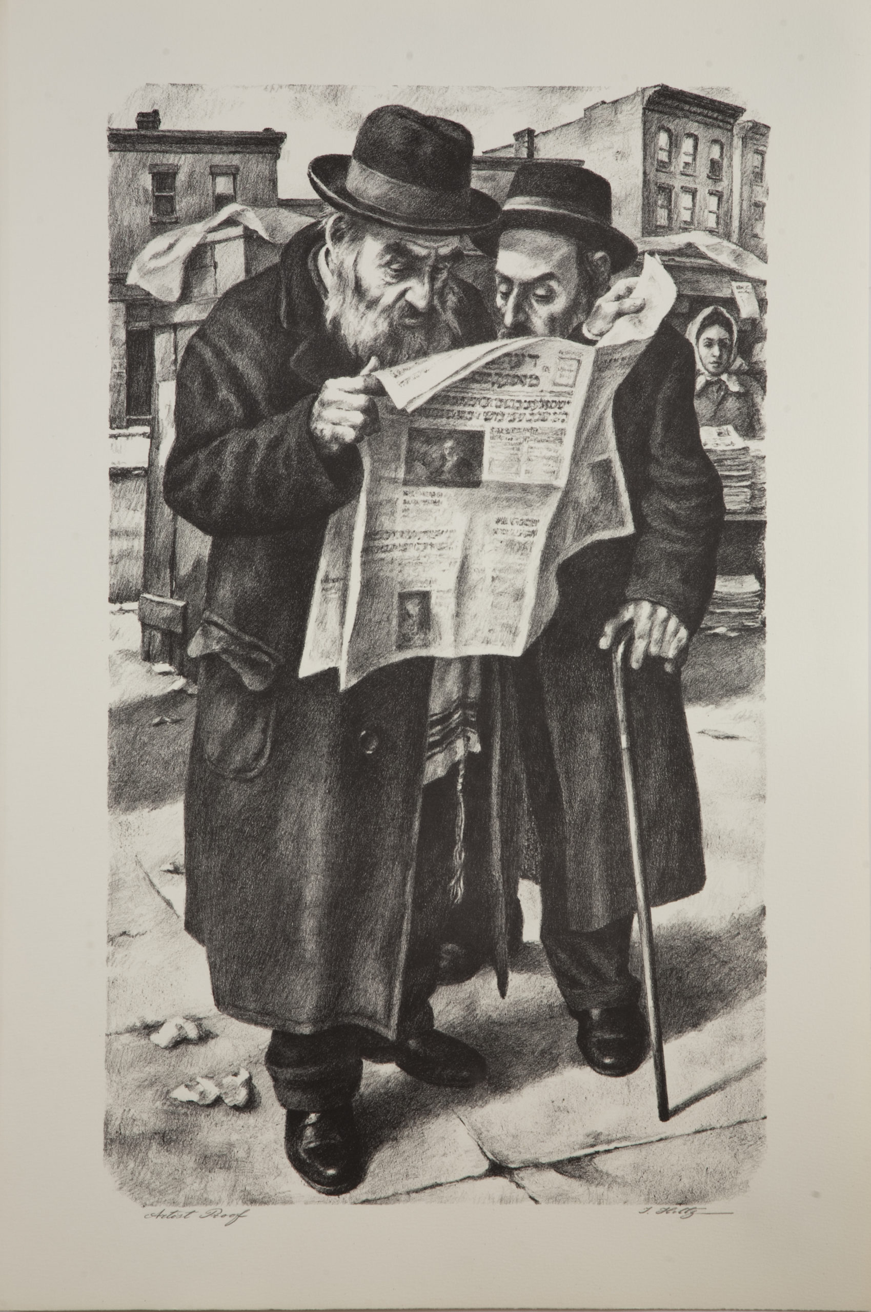 L19B Reading the Newspaper - Black & White - Lithograph - 20 x 30 - No Frame- $500