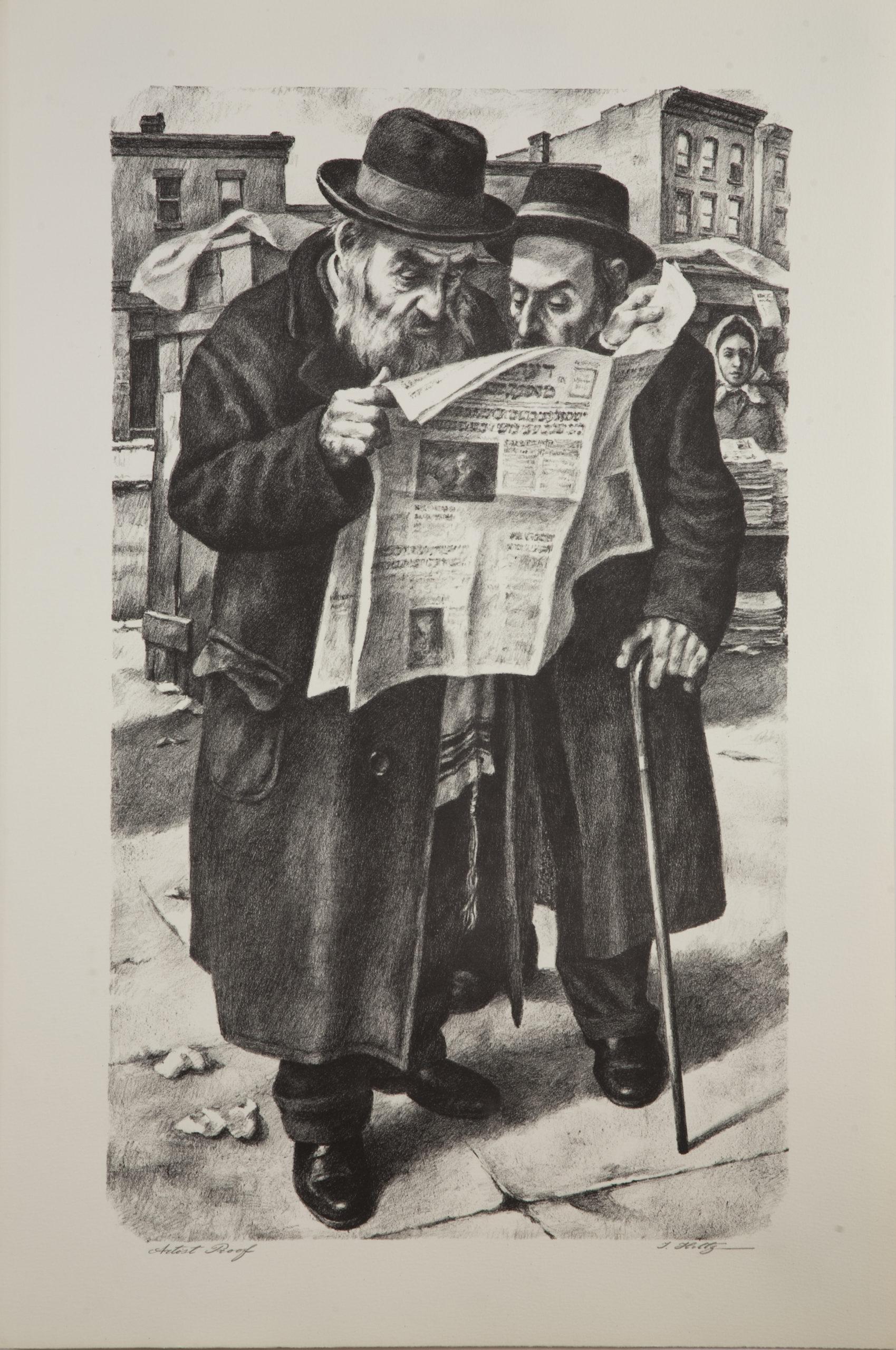 L19B Reading the Newspaper - Black & White - Lithograph - 20 x 30 - No Frame- $500