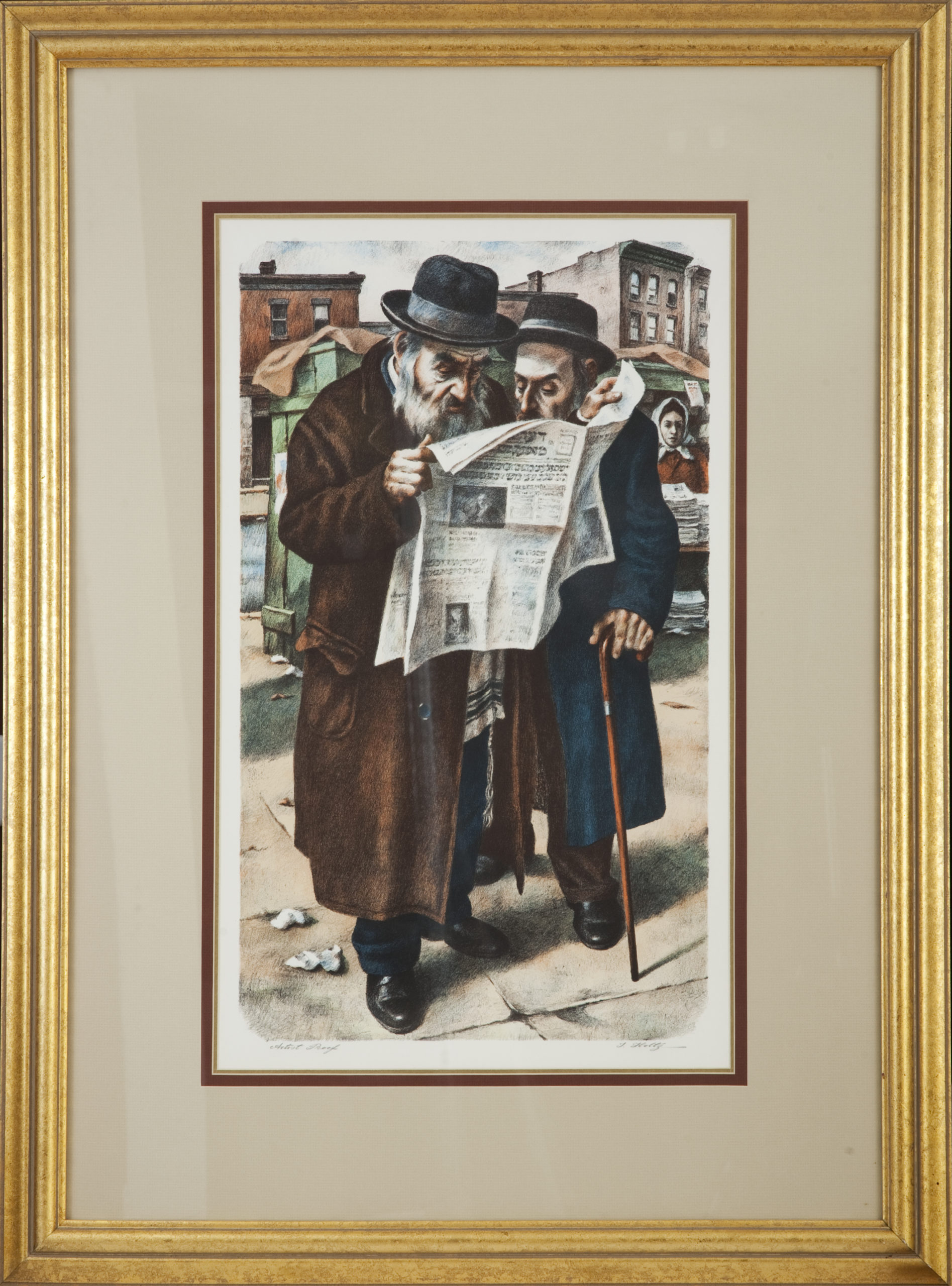 L19F Reading the Newspaper - Color - Lithograph - 20 x 30 - Framed