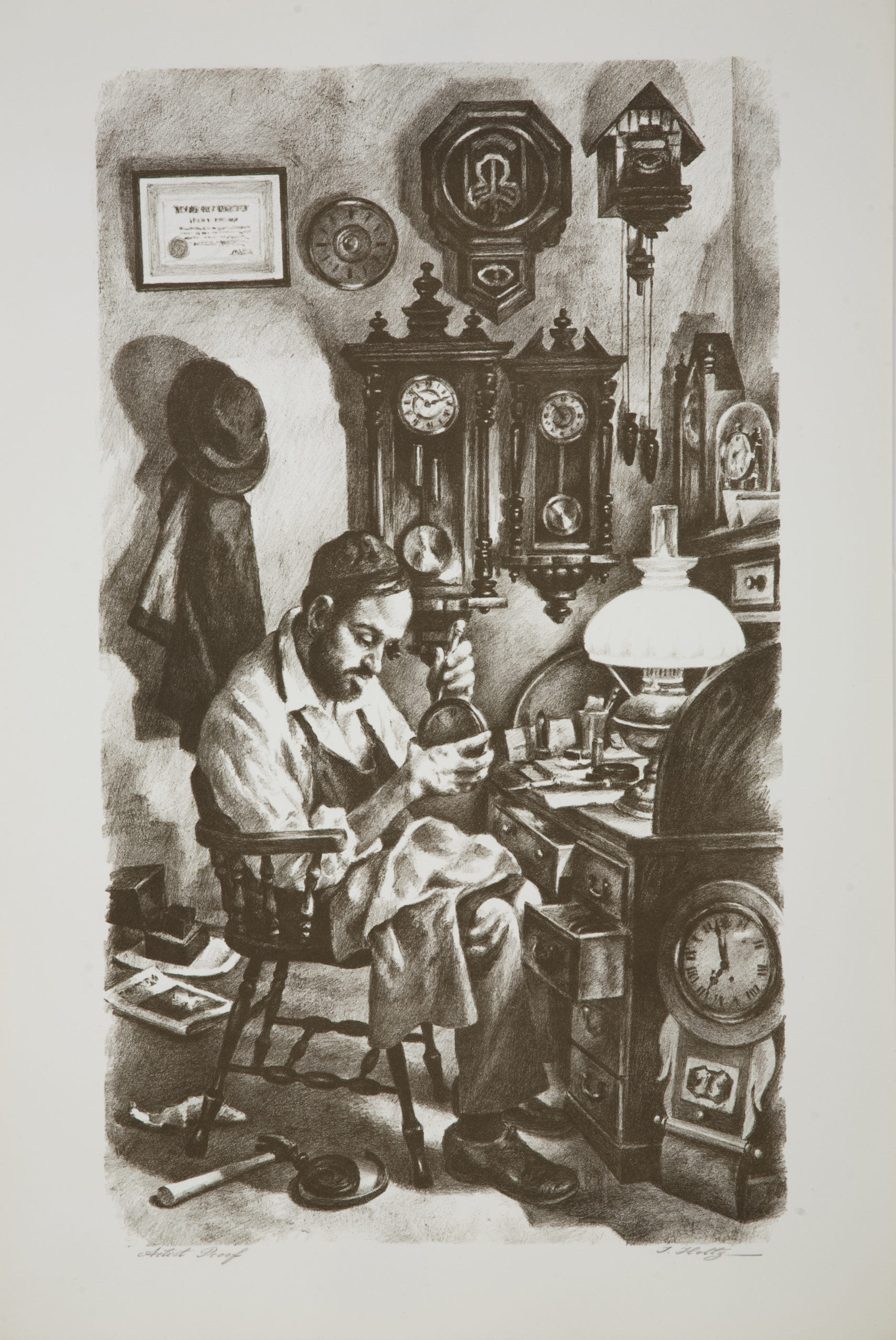 L22B Clockmaker - Black and White - Lithograph - 20 x 29.5 - No Frame - $500
