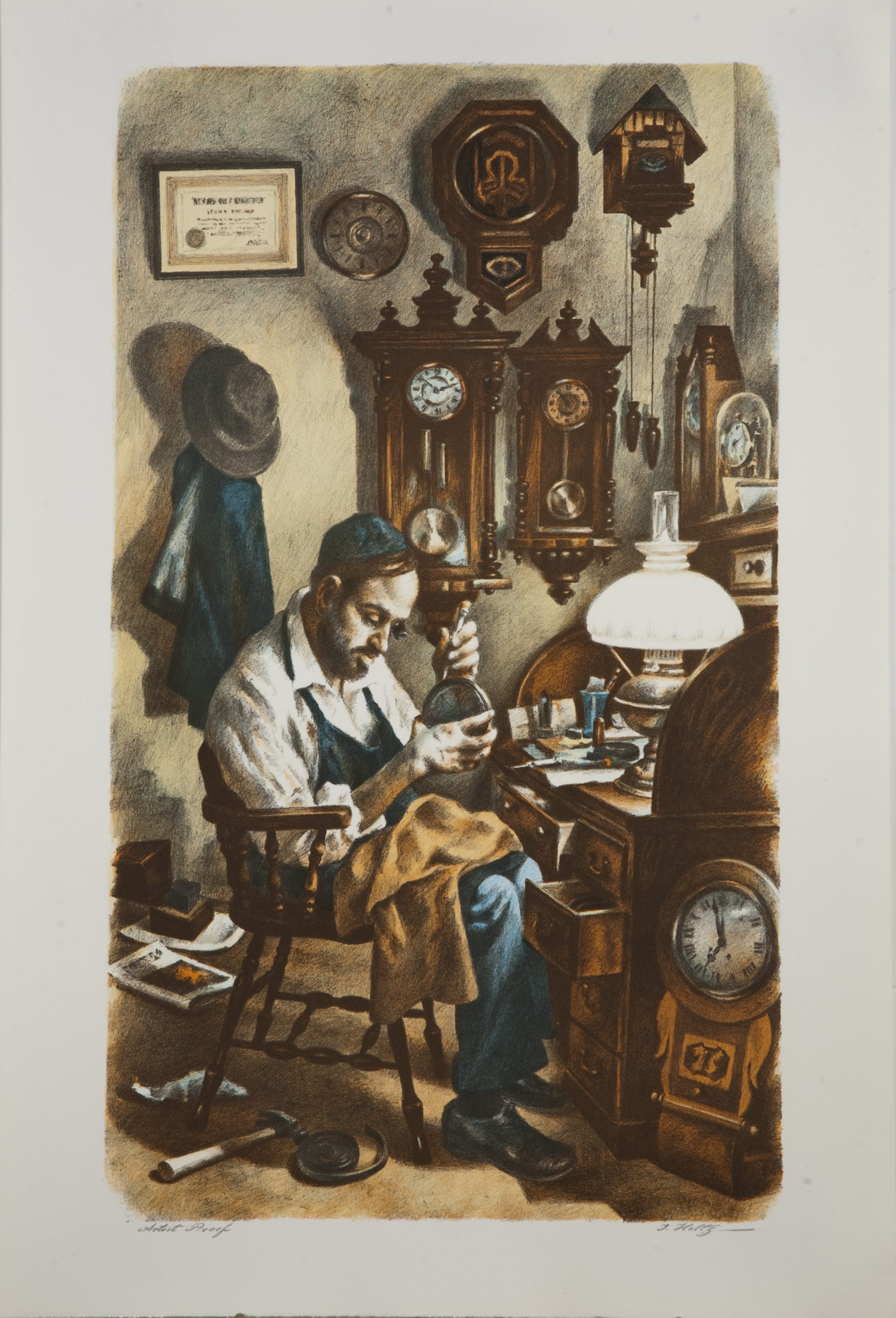 L22 Clockmaker - Color - Lithograph - 20 x 29.5 - No Frame - $620
