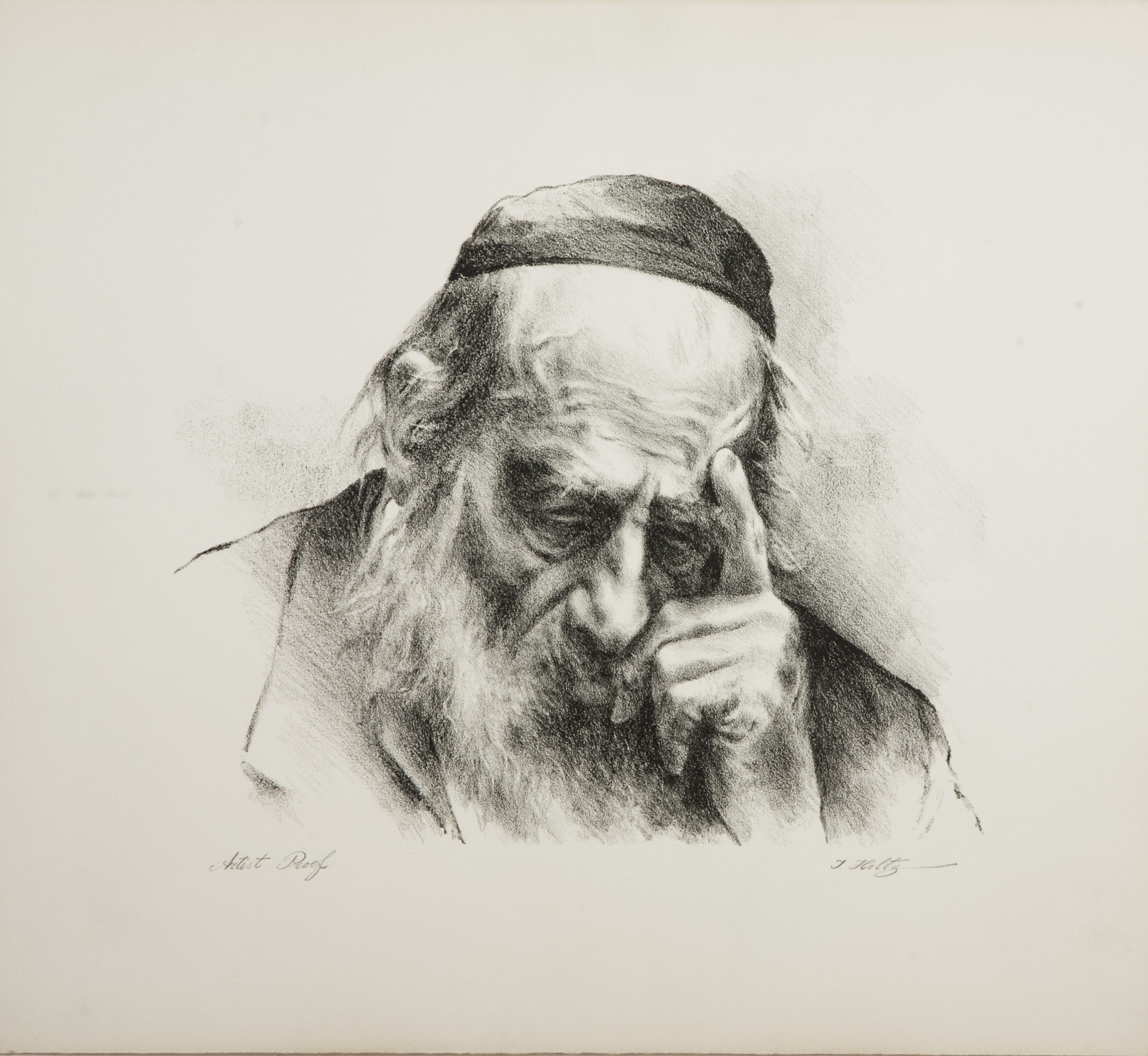 L34B Thinker Left Hand - Black and White - Lithograph - 17.25 x 15.5 - No Frame - $340