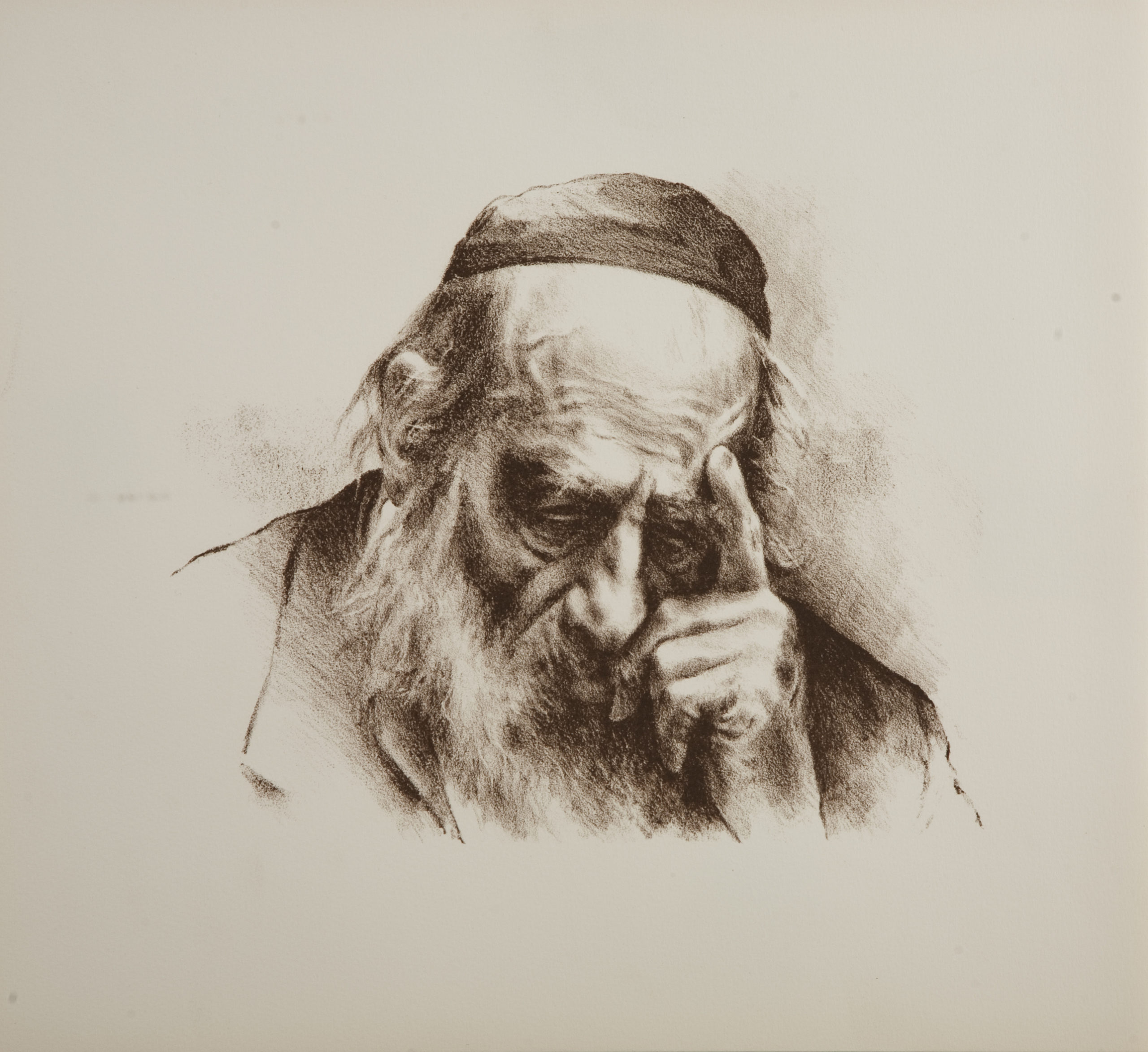 L34S Thinker Left Hand - Sepia - Lithograph - 17.25 x 15.5 - No Frame - $340