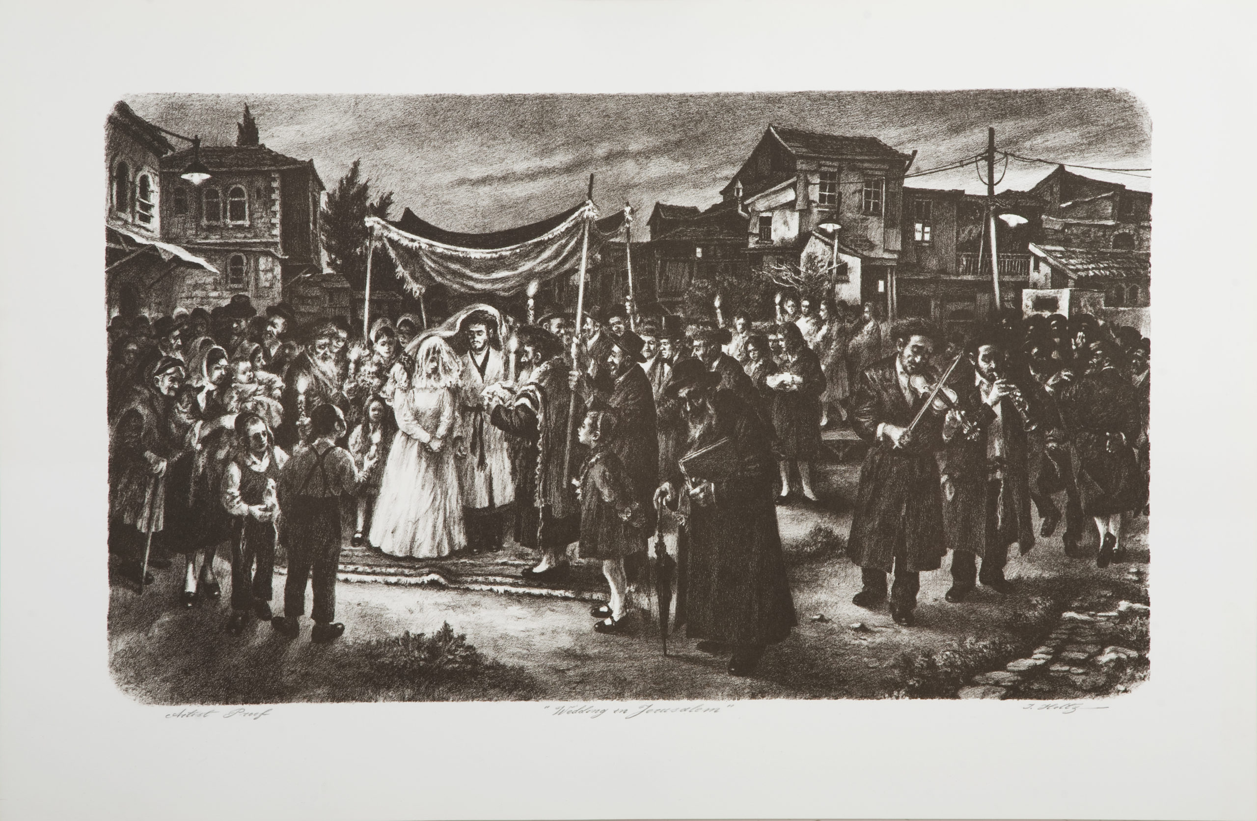 L37B Wedding in Jerusalem - Black and White - Lithograph - 32.5 x 22.5 - No Frame -$620