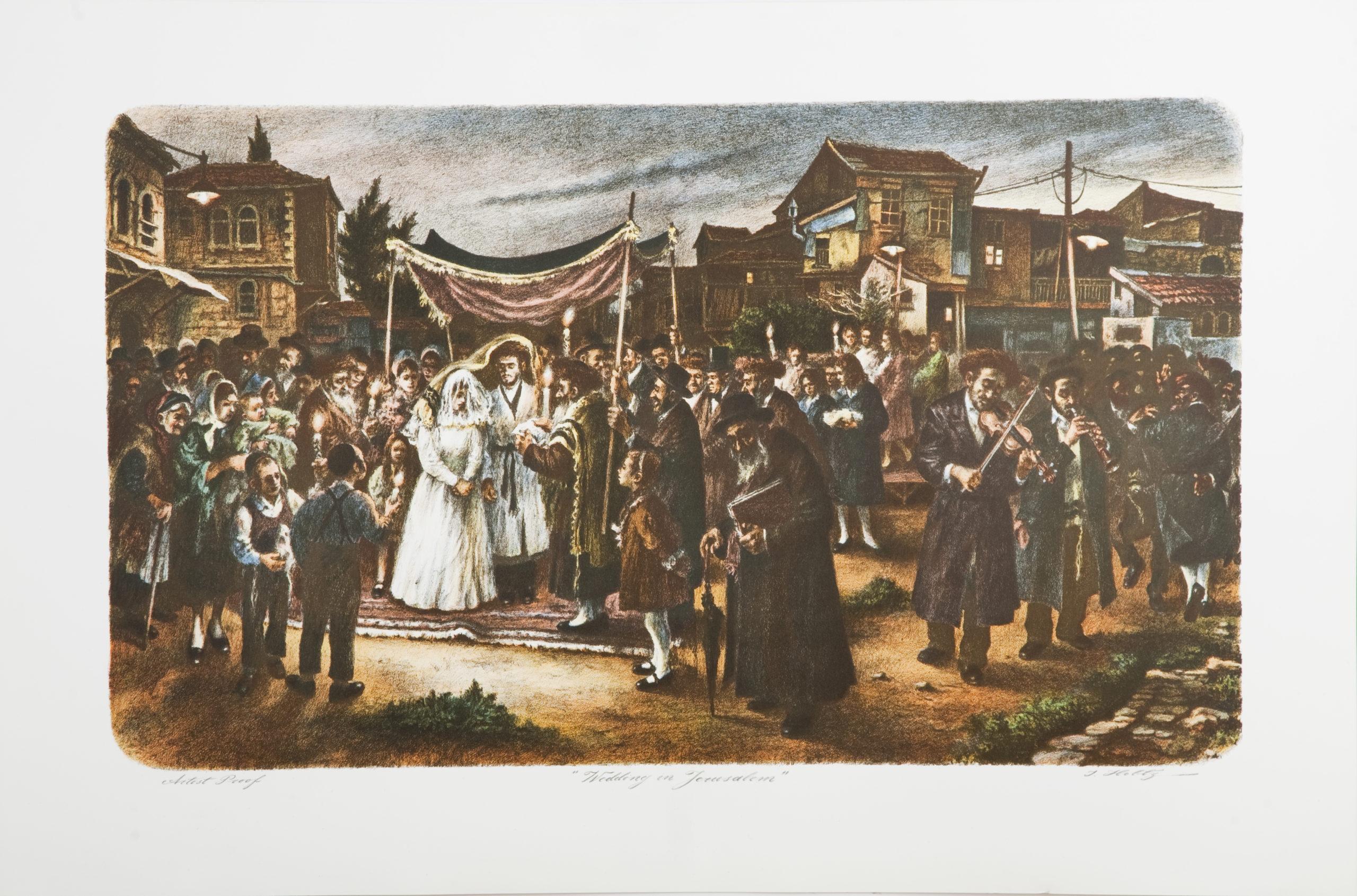 L37C Wedding in Jerusalem - Color - Lithograph - 29.5 x 22 - No Frame -$700
