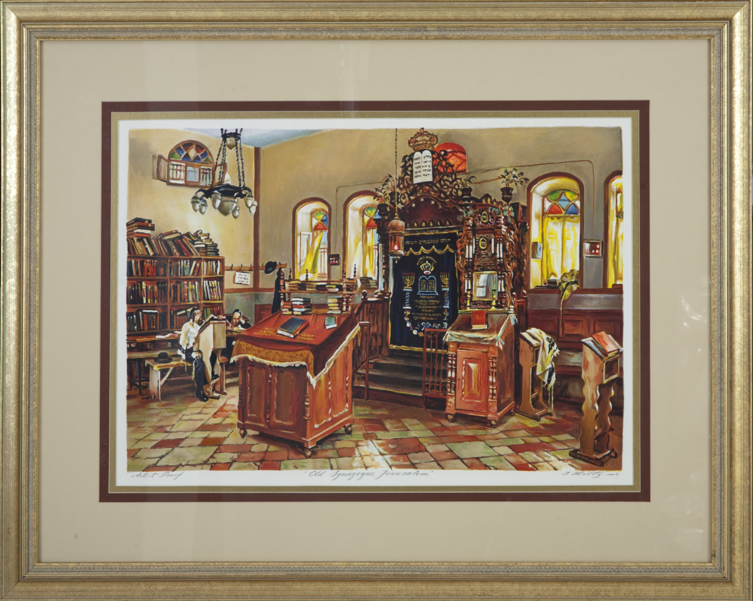 L52F Old Synagogue, Jerusalem - Color Lithograph - 31.5 x 23.25 - Framed