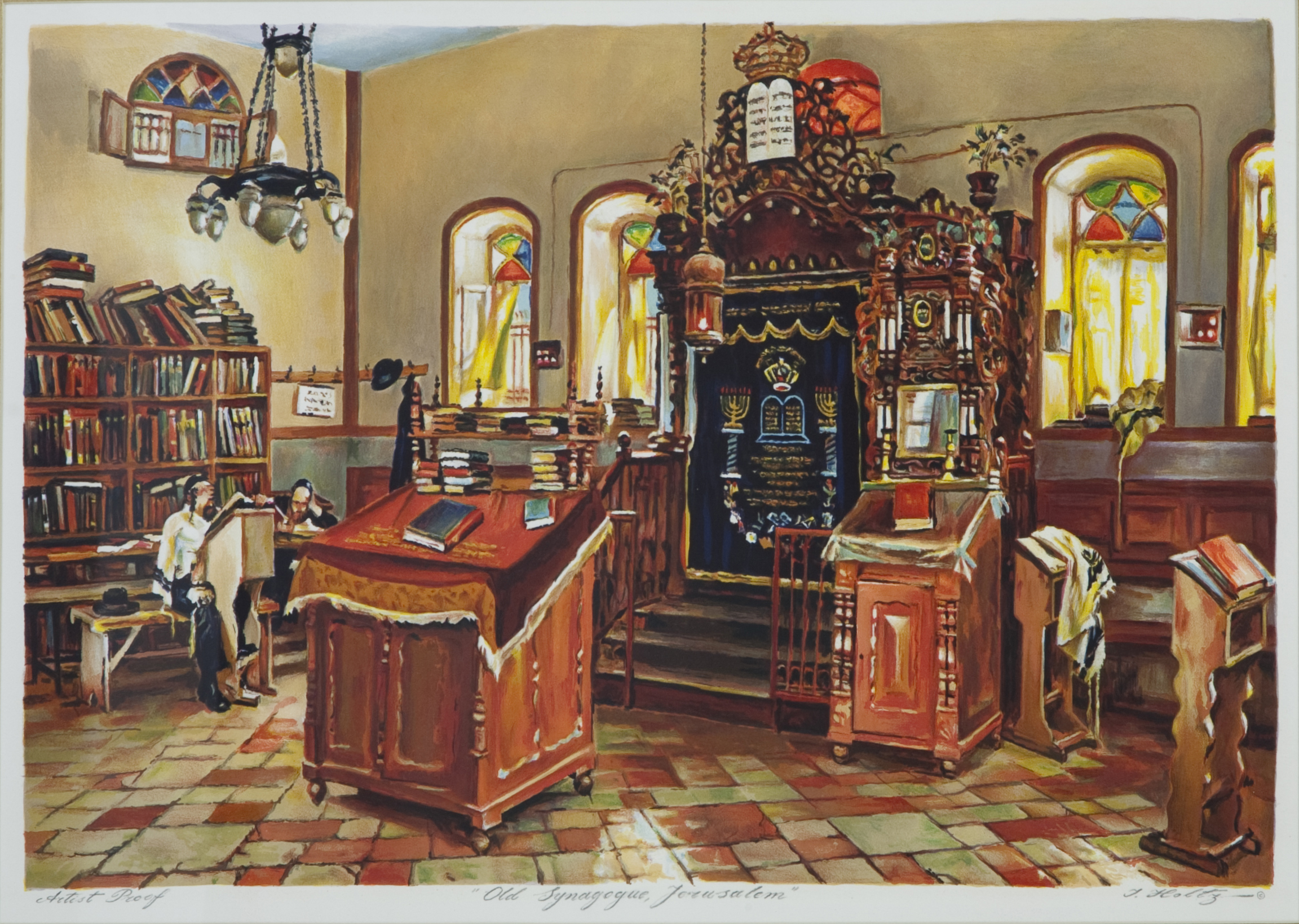 L52 Old Synagogue, Jerusalem - Color Lithograph - 31.5 x 23.25 - No Frame - $560