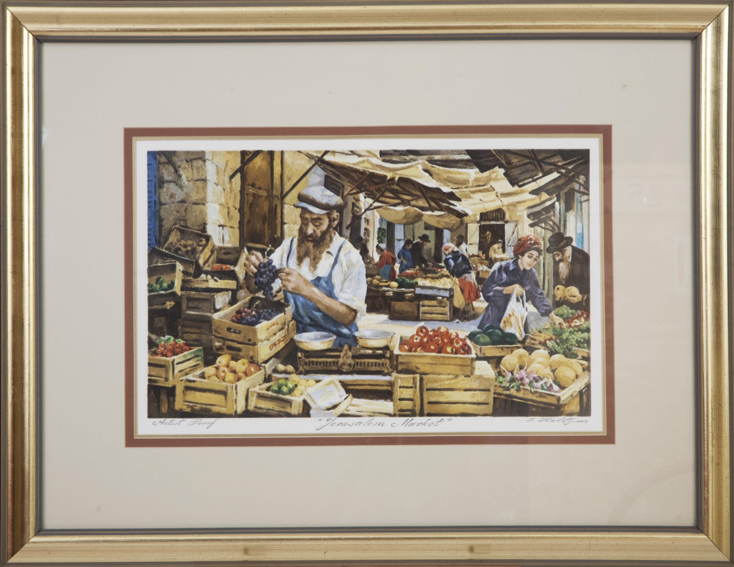 L63 Jerusalem Market - Color - Serigraph - 23 x 15.5 - Framed