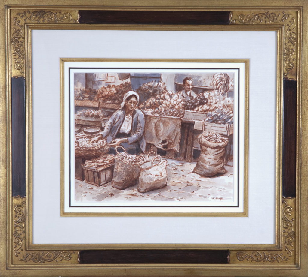 003 Market in Old Jerusalem 1972 - Marker - 13.75 x 11 - Frame: 25.75 x 23 x 2