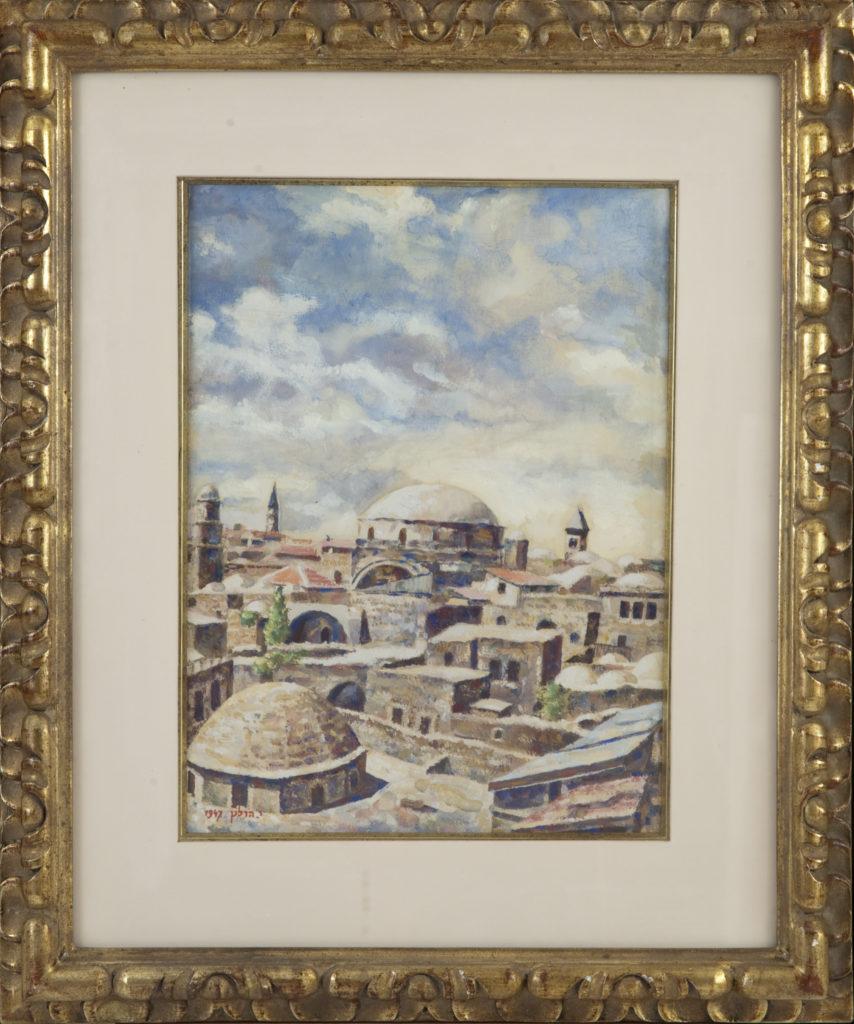032 Jerusalem The Old City 1947 - Watercolor - 11 x 15 - Frame: 19 x 23.25 x 1.5