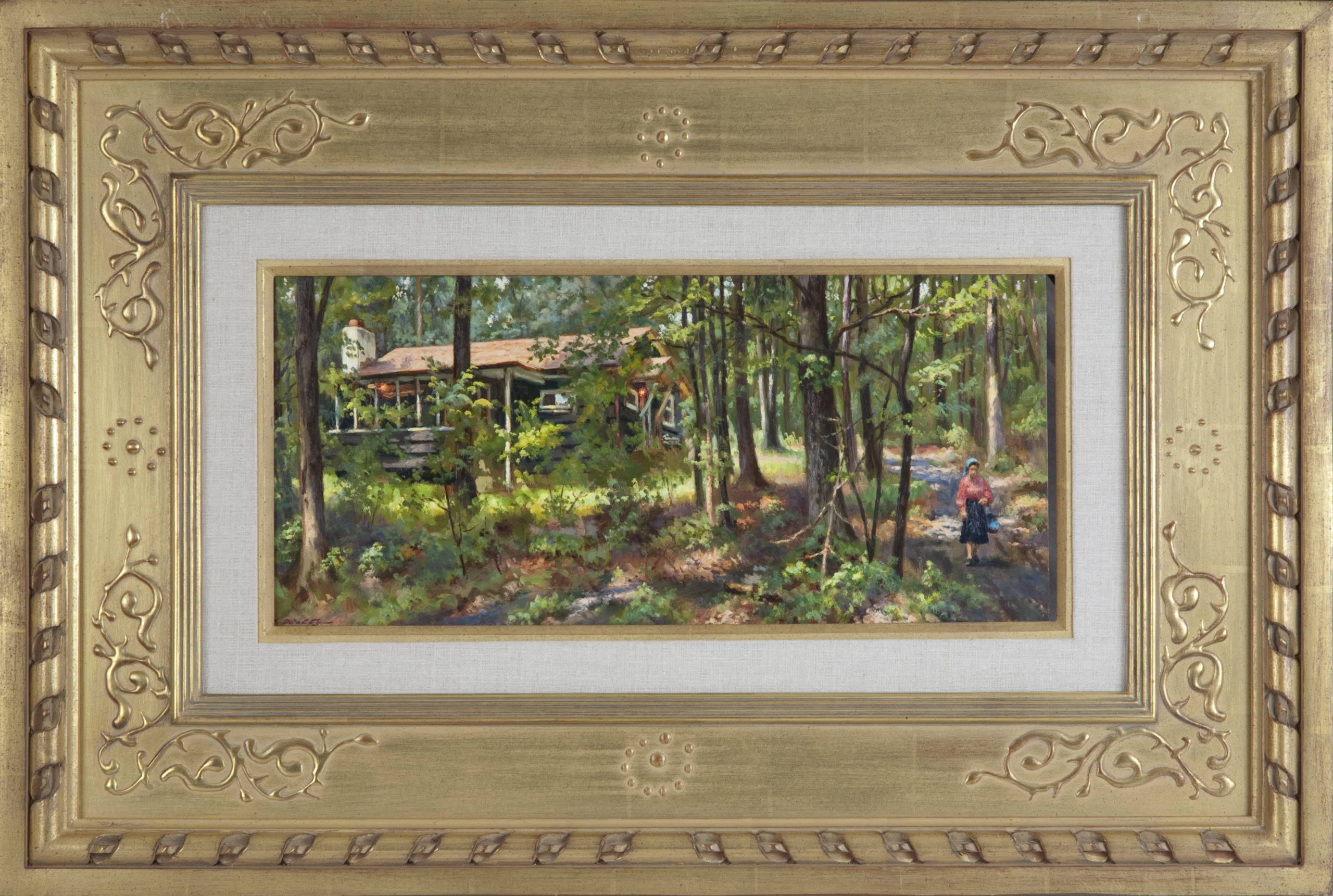 034 Bungalow 1978 - Oil on Masonite - 18 x 8 - Frame: 30 x 20 x 1.75