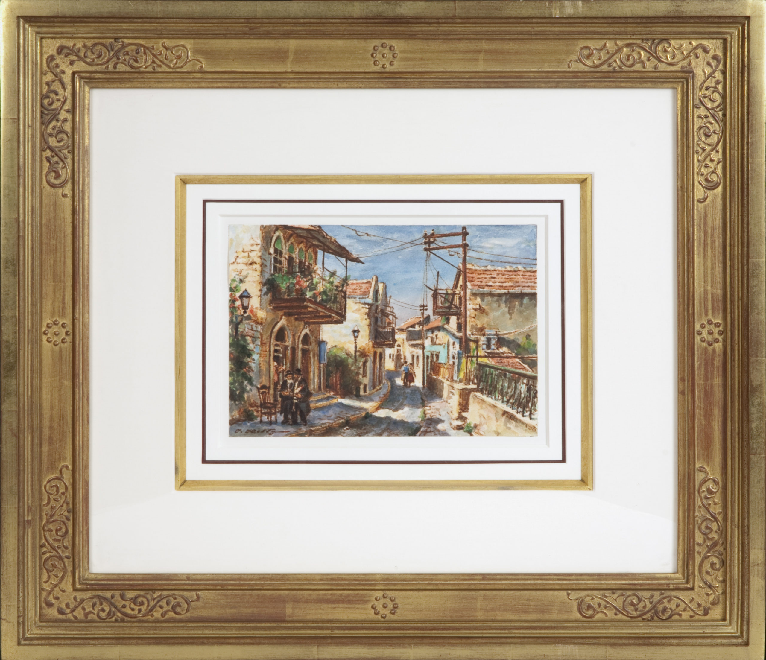 039 Street in Safed 1971 - Watercolor - 10 x 7 - Frame: 25 x 21.75 x 2