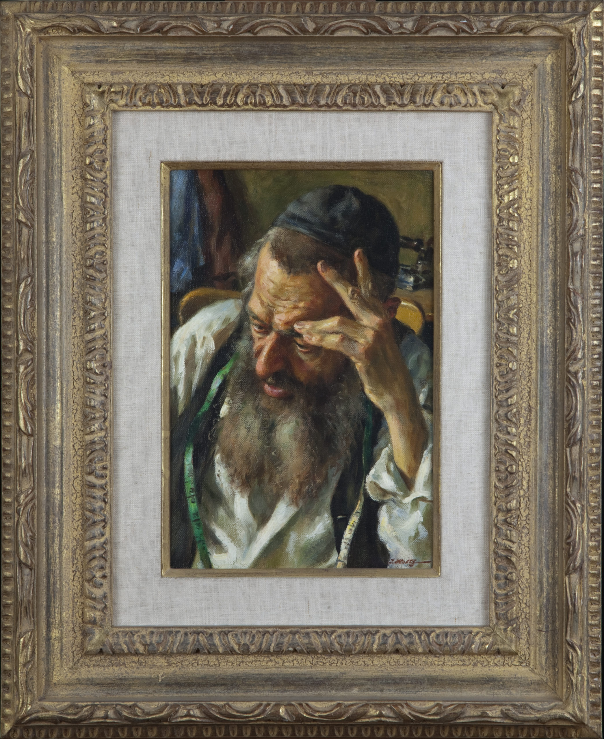 040 Tailor thinking - Oil on Canvas - 8 x 12 - Frame: 17.5 x 21.5 x 2.25