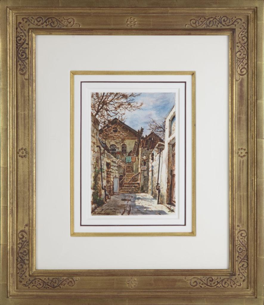 004 Jerusalem Yard 1965 - Felt Pen & Watercolor - 7 x 10 - Frame: 21.5 x 25 x 2