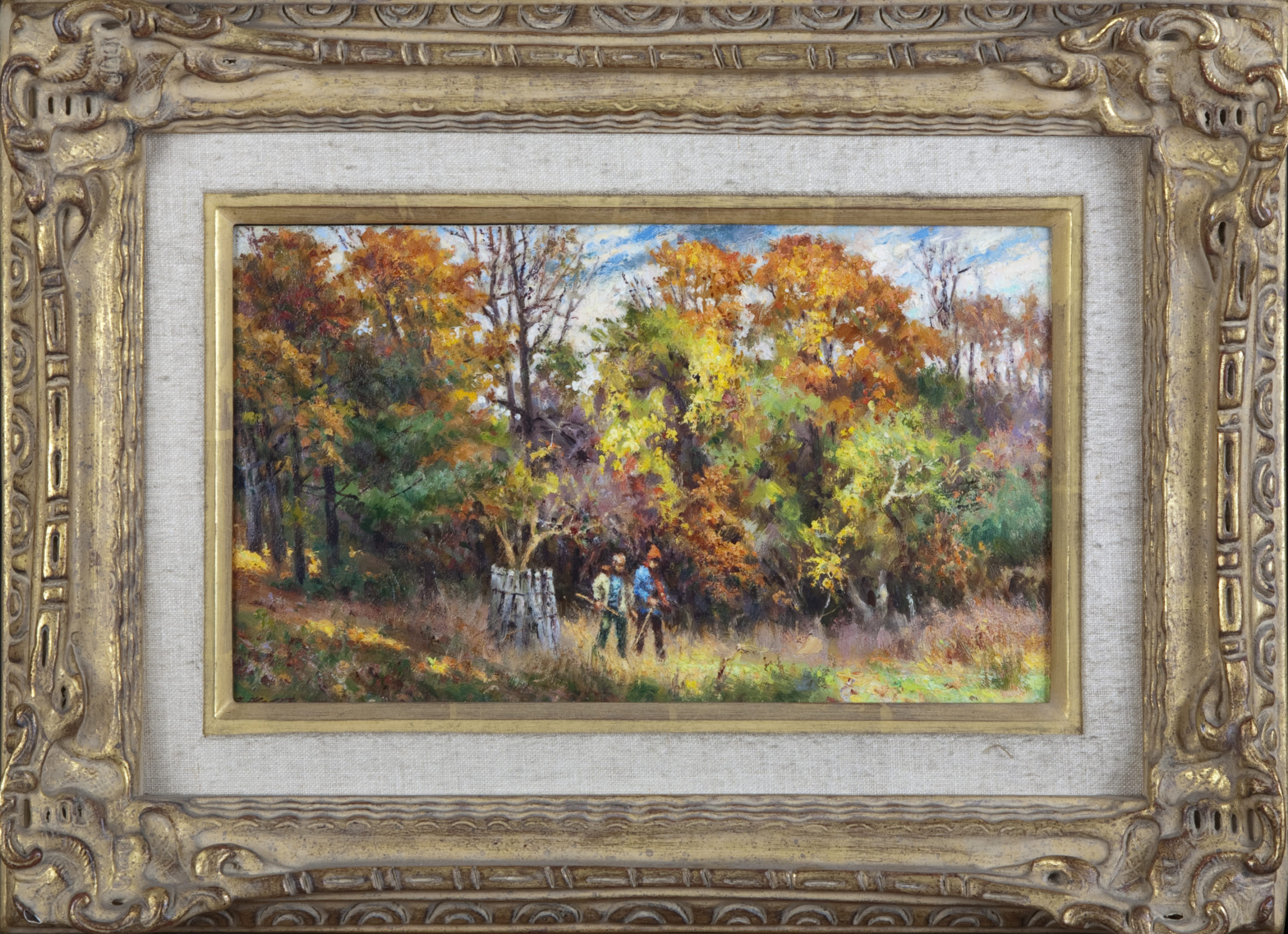 042 Autumn scene 2 people walking - Oil on Masonite - 12 x 7 - Frame: 18.5 x 13.5 x 3