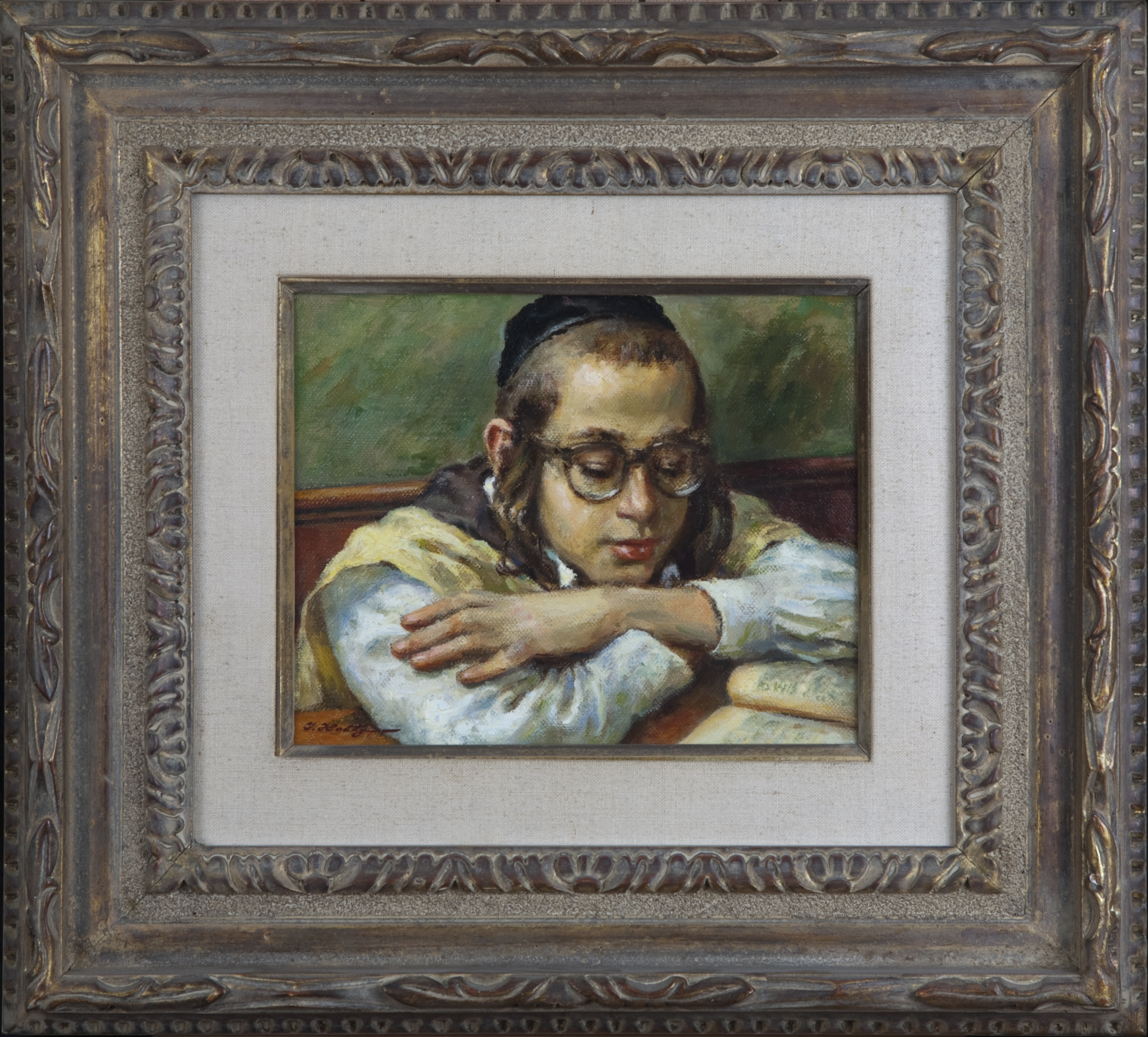 043 Learning 1973-1983 - Oil on Canvas - 10 x 8 - Frame: 19.5 x 17.5 x 2.5