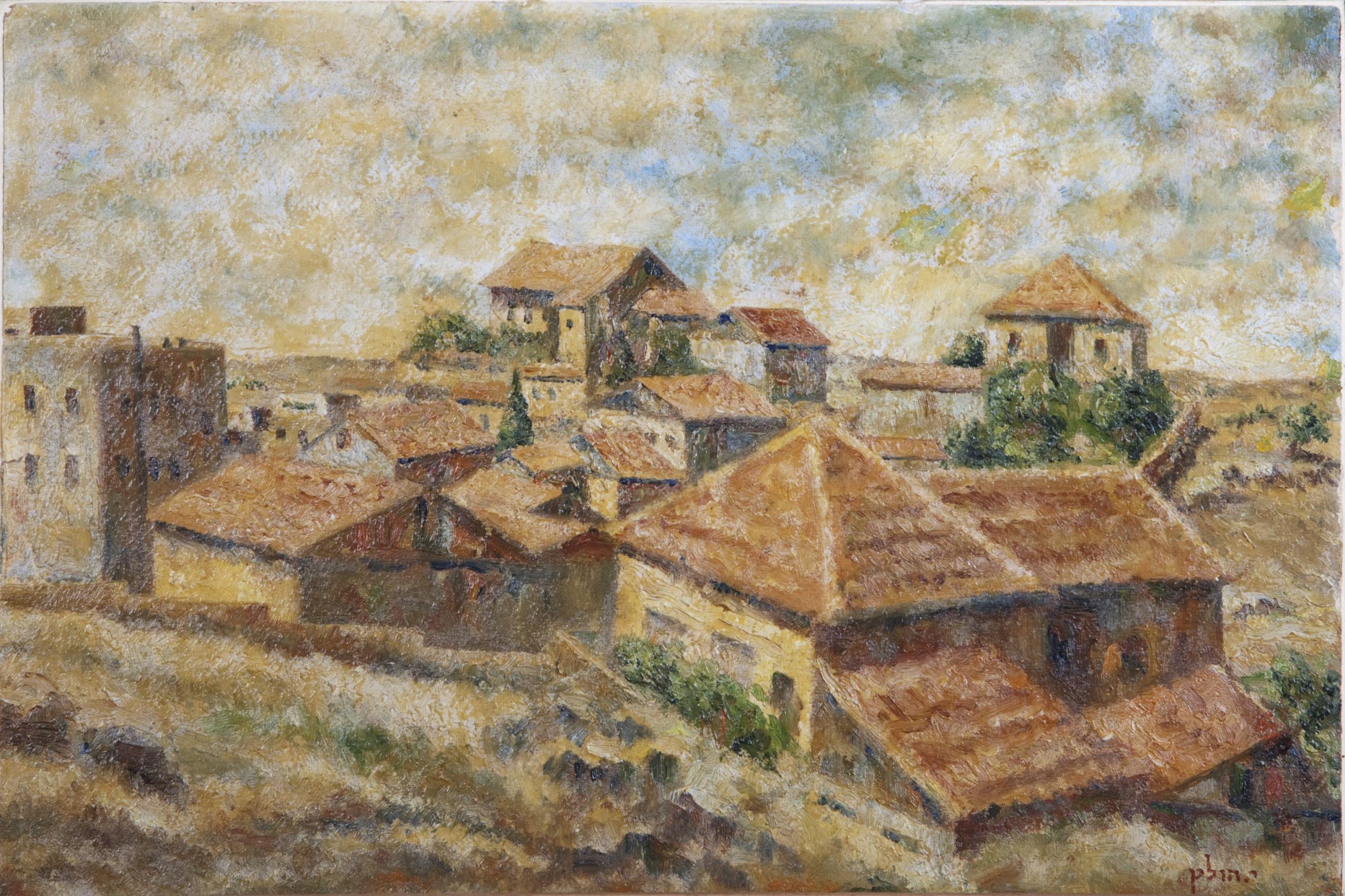 047 Tel Arza 1947 - Oil on Paper - 17.5 x 11.75 - No Frame