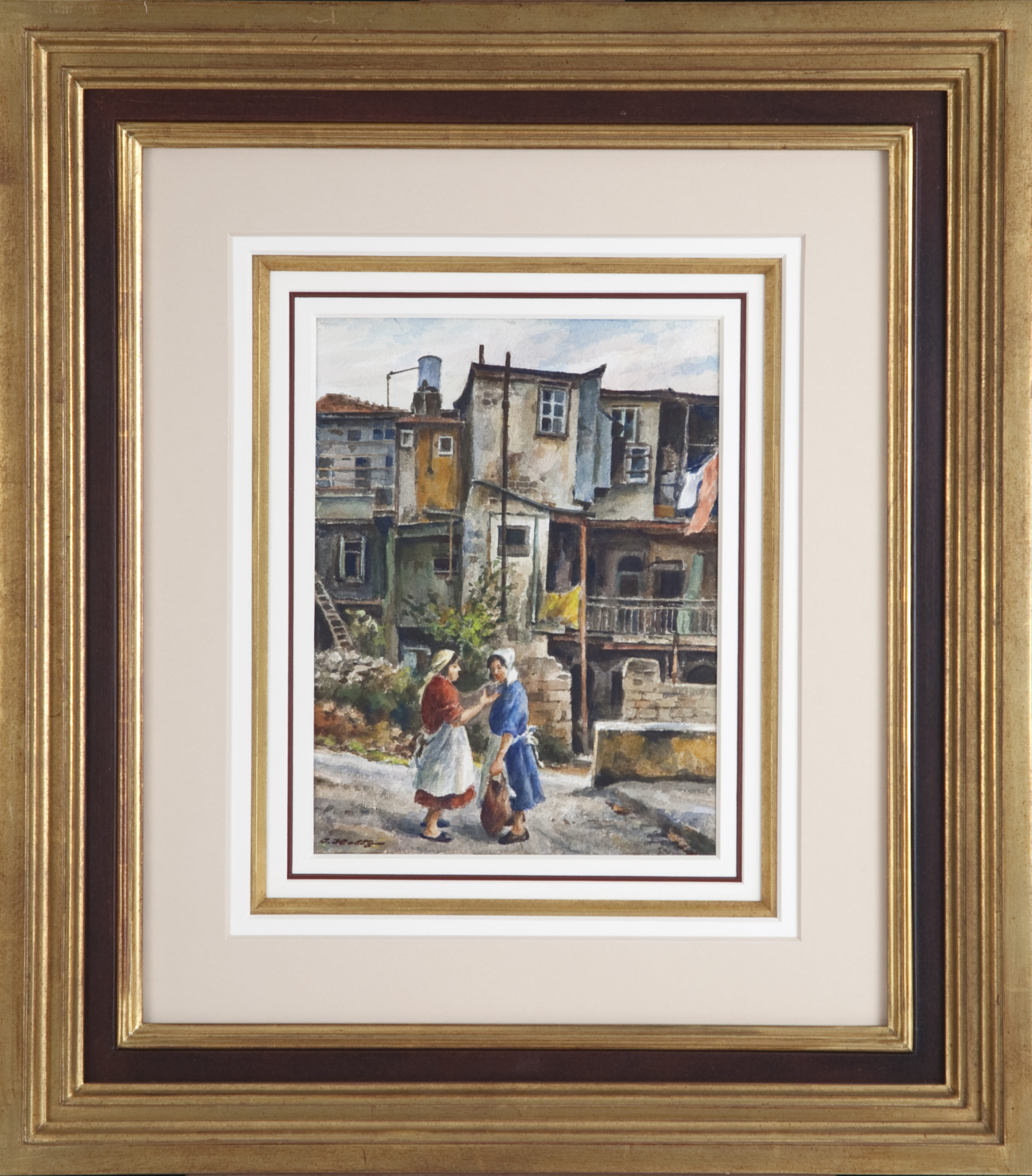 048 Gossiping 1972 - Watercolor - 8.75 x 11.5 - Frame: 22 x 25 x 2.5