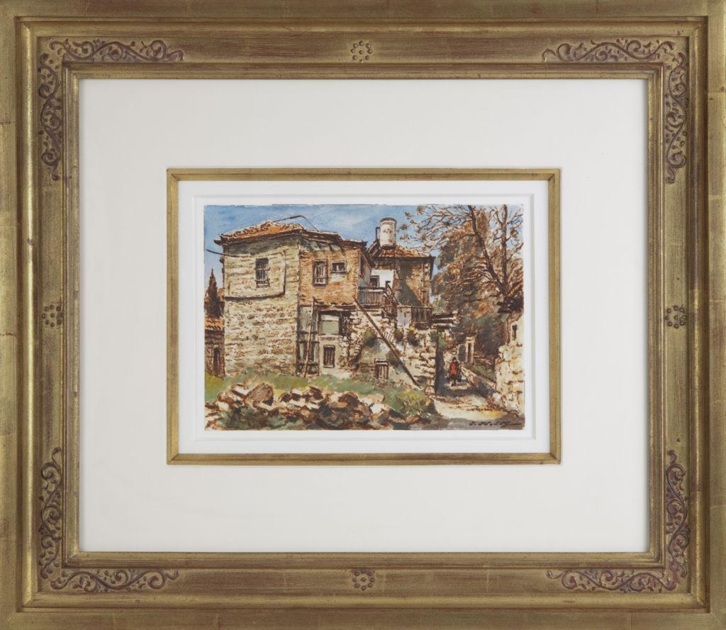 005 Jerusalem Old Houses 2001 - Watercolor - 10 x 7 - Frame: 22.75 x 19.5 x 2