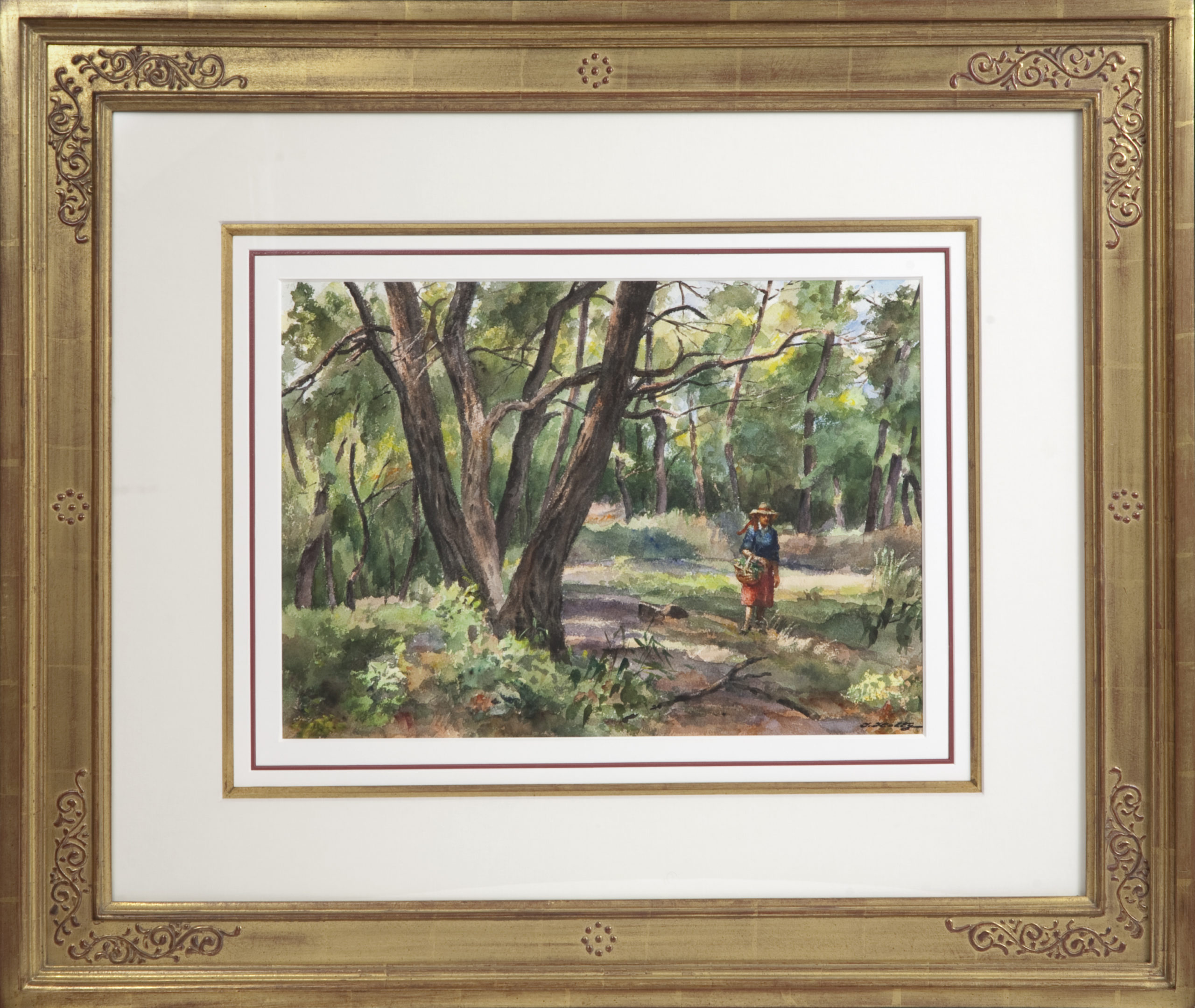055 Walking in the Woods 1981 - Watercolor - 18.5 x 14 - Frame: 34.25 x 29 x 2