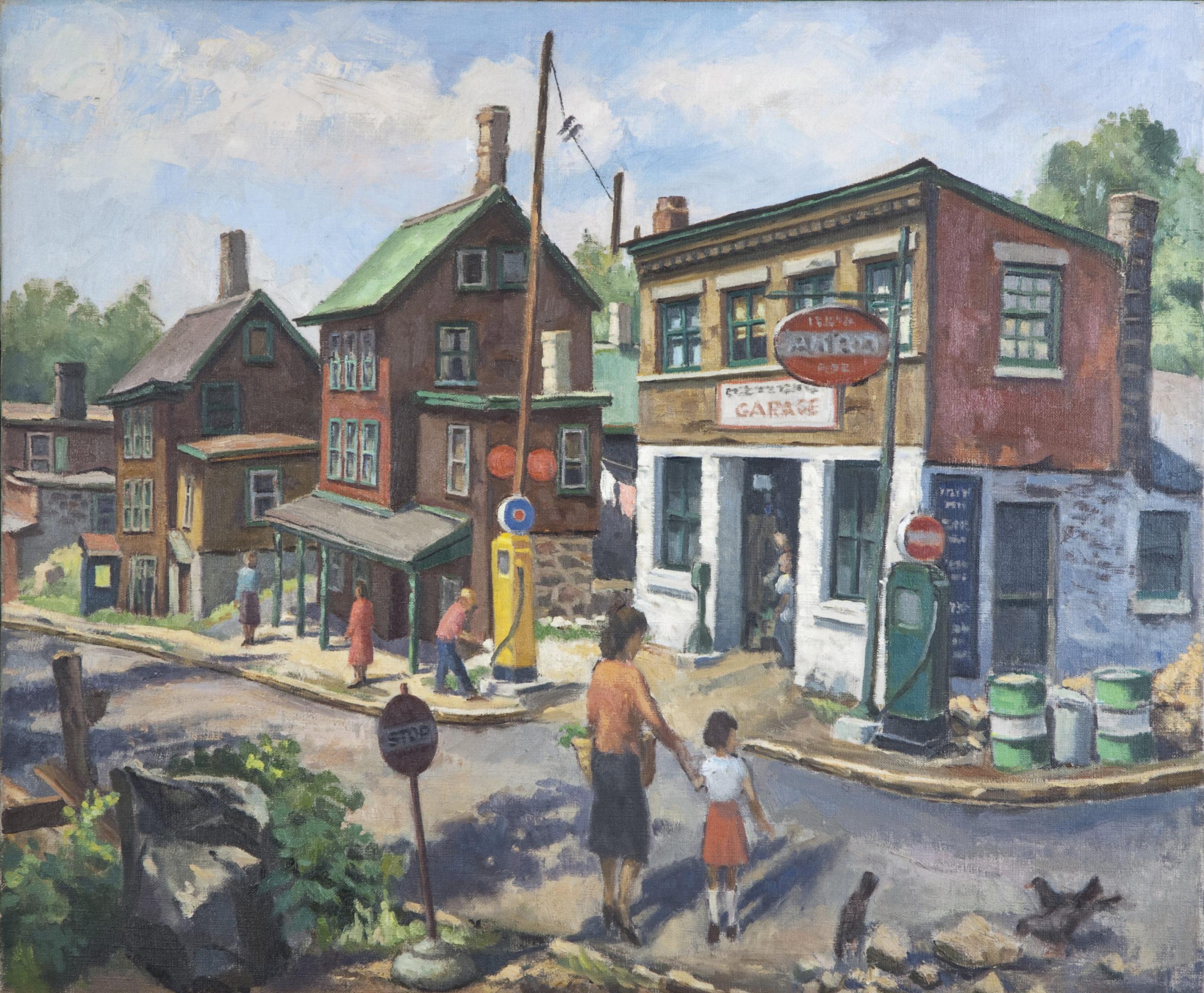056 Garage 1960s - Oil on Canvas - 24 x 20 - No Frame
