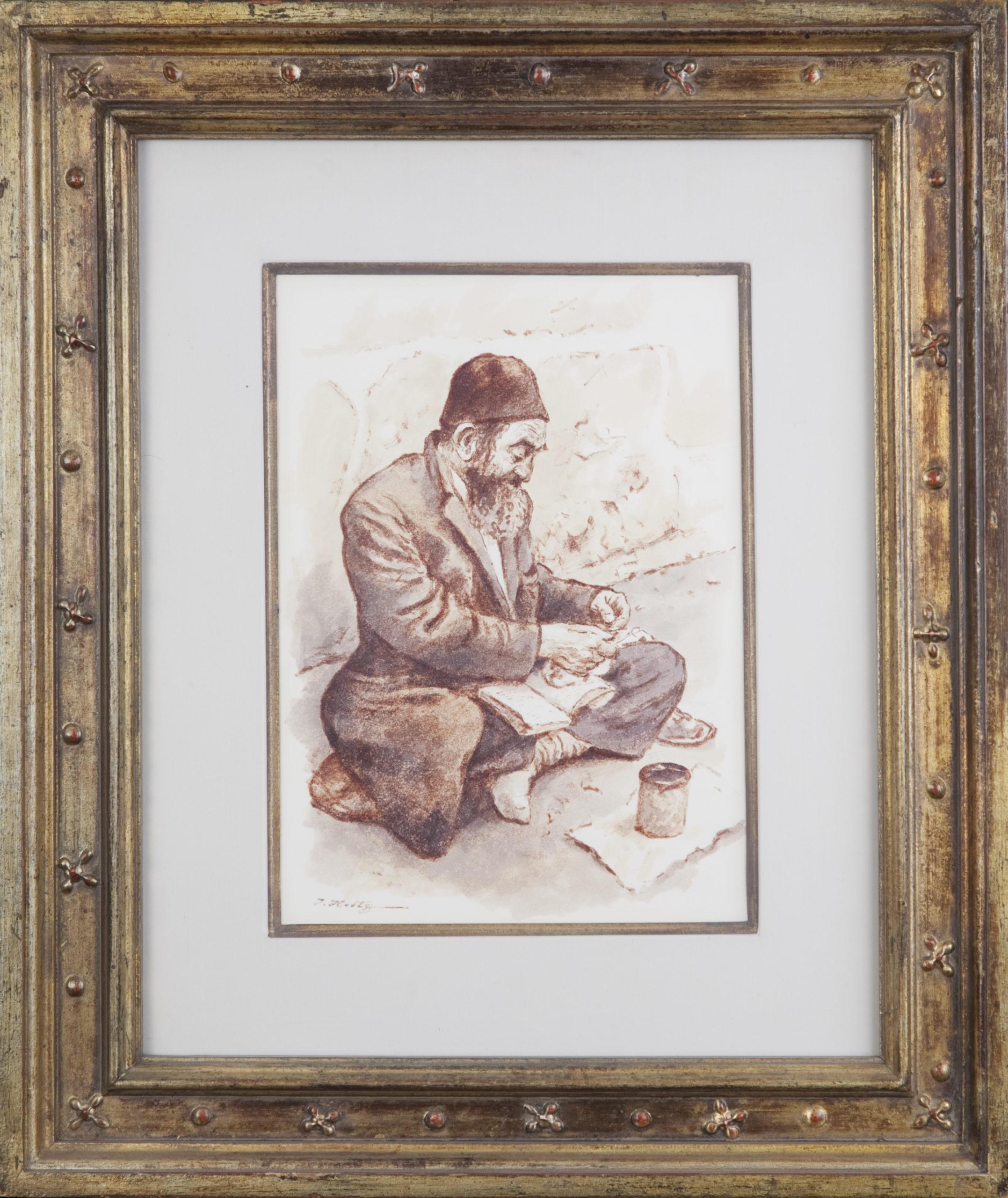 057 The Beggar 1973 - Marker - 7.5 x 10.5 - Frame: 16.25 x 19.25 x 1.75