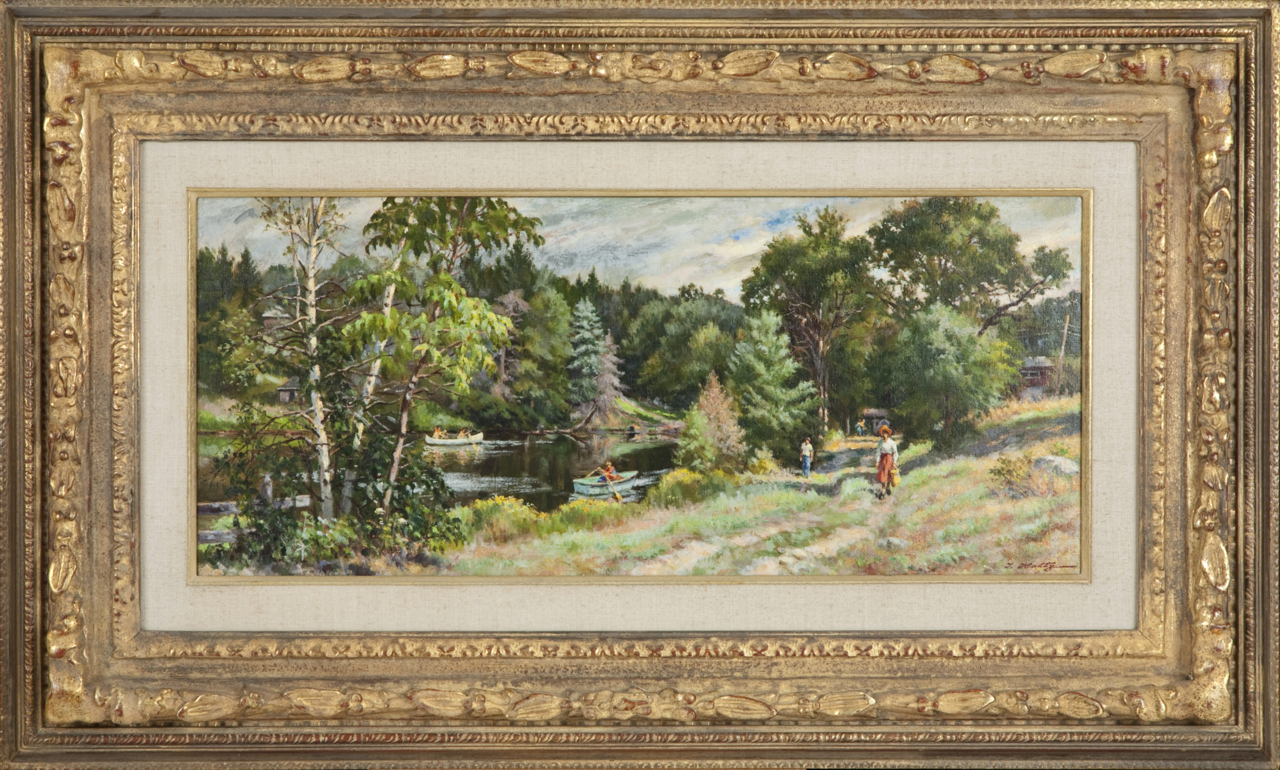 063 Summer in the Poconos 1979 - Oil on Canvas - 28 x 12 - Frame: 40 x 24 x 3