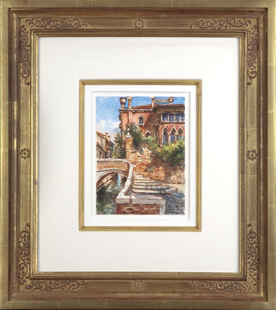 006 Morning in Venice 1989 - Watercolor - 8 x 6 - Frame: 18 x 20.5 x 2