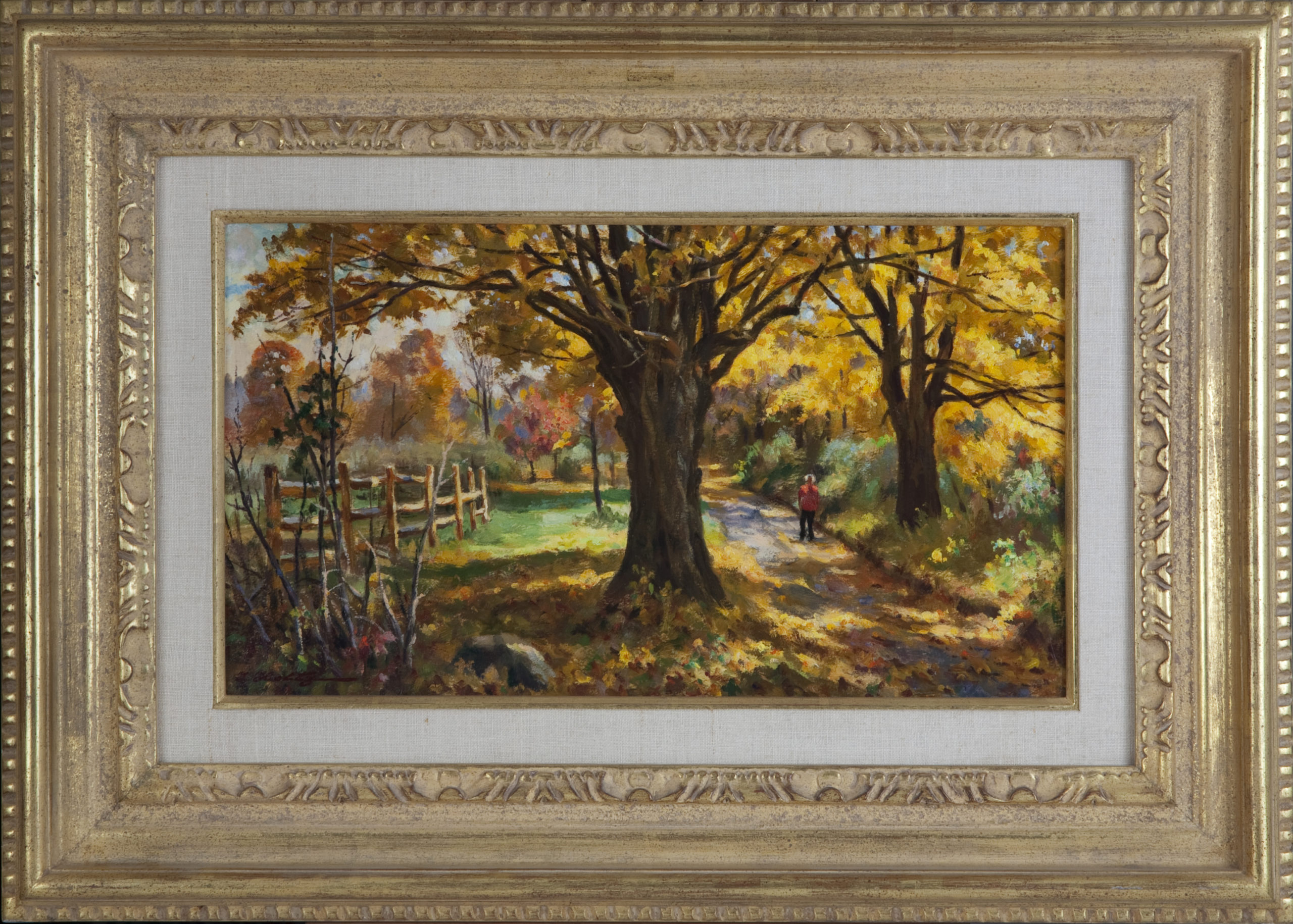 068 Autumn Gold 1979 - Oil on Masonite - 18 x 10 - Frame: 27 x 19 x 2
