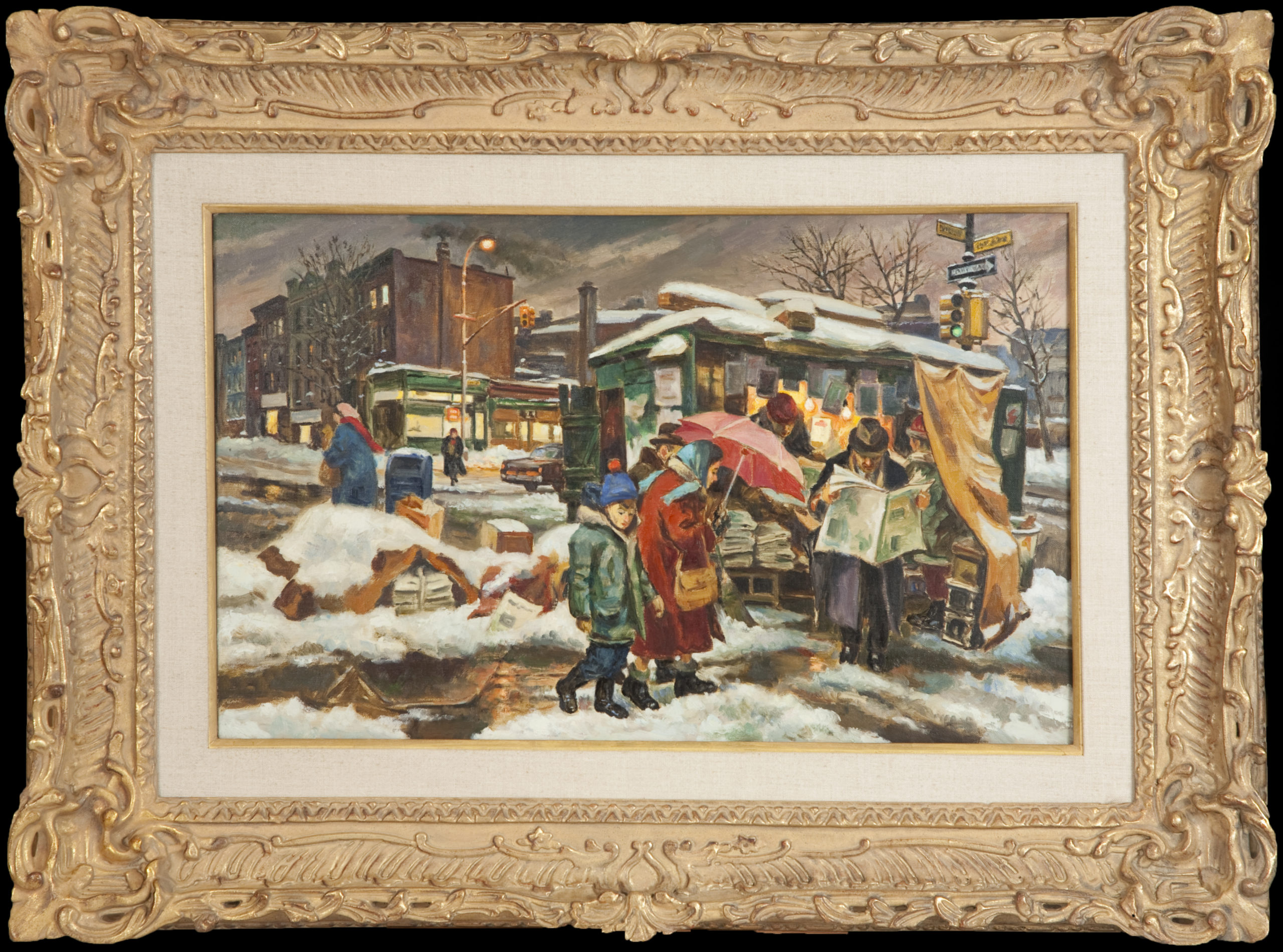 070 Winter Scene in New York 1970s - Oil on Canvas - 26 x 16 - Frame: 37.5 x 27 x 3.5