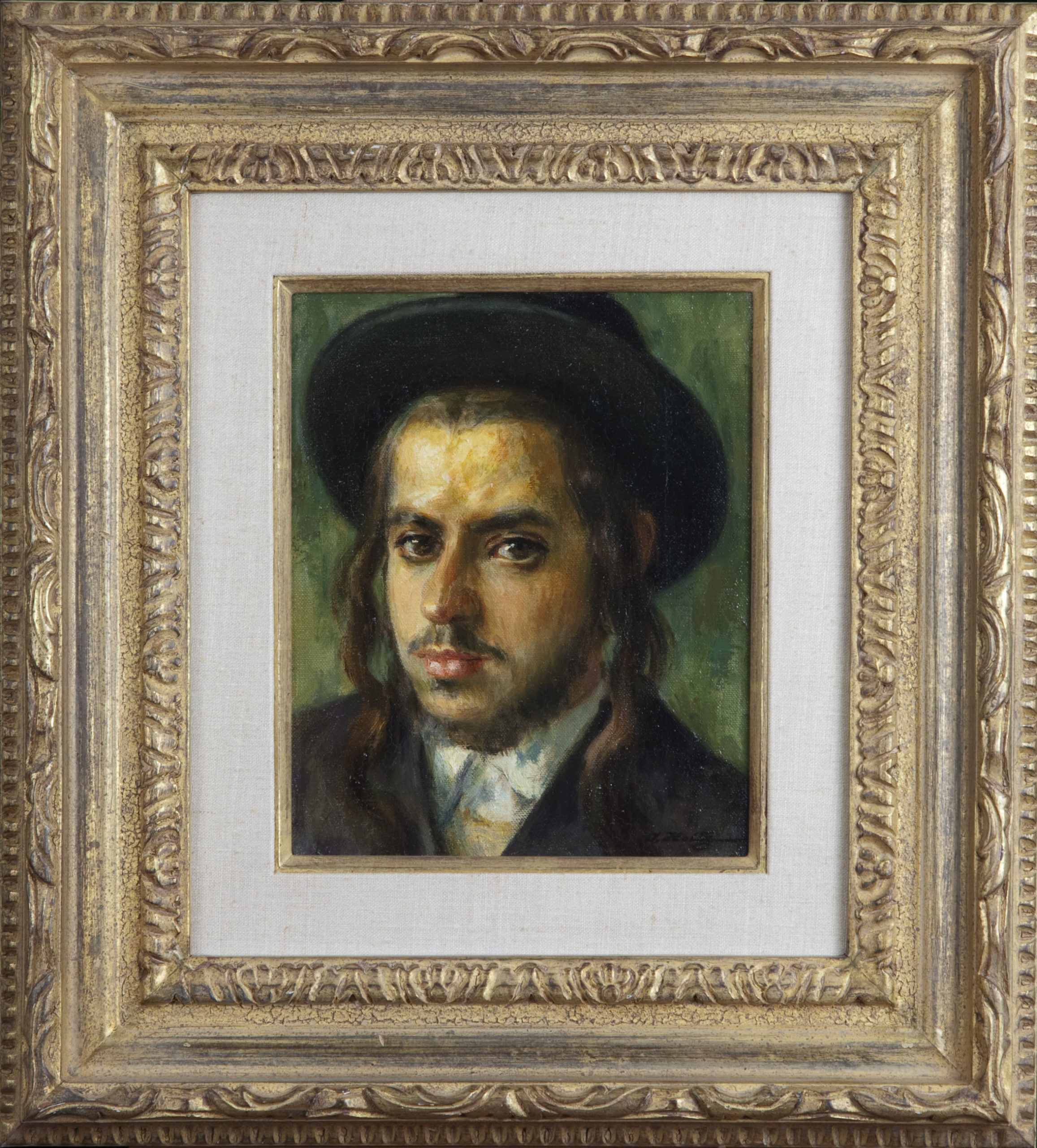 073 Yeshiva Student 1968 - Oil on Canvas - 8 x 10 - Frame: 17.5 x 19.5 x 2.5
