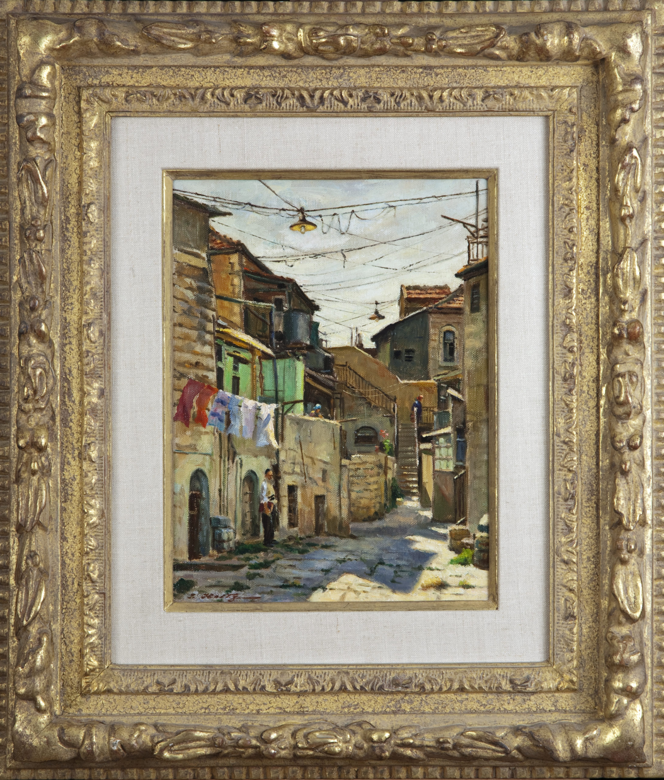 074 Courtyard Jerusalem 1977 - Oil on Canvas - 9 x 12 - Frame: 18.5 x 21.5 x 2.75